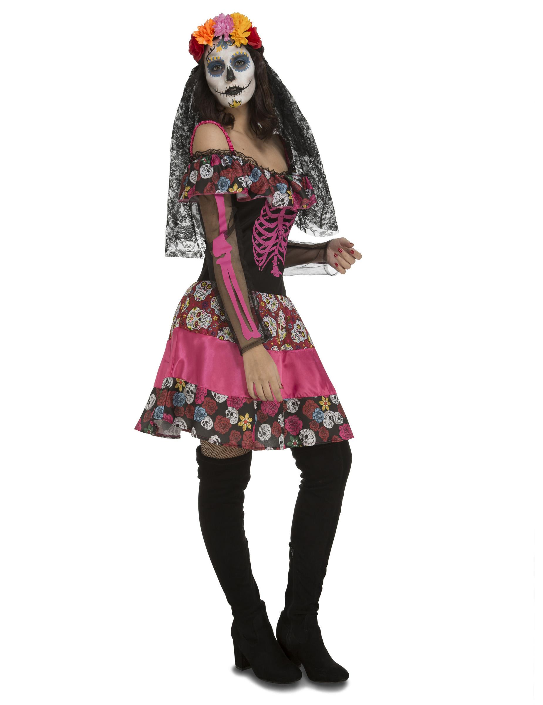 Wunderschönes Tag der Toten Kleid für Damen Dia de los Muertos Kostüm pink bunt