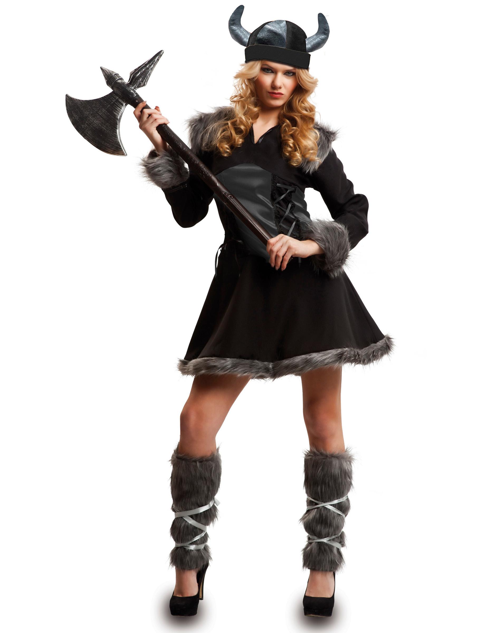 Kostum Wikingerin Fur Damen Schwarz Gunstige Faschings Kostume Bei