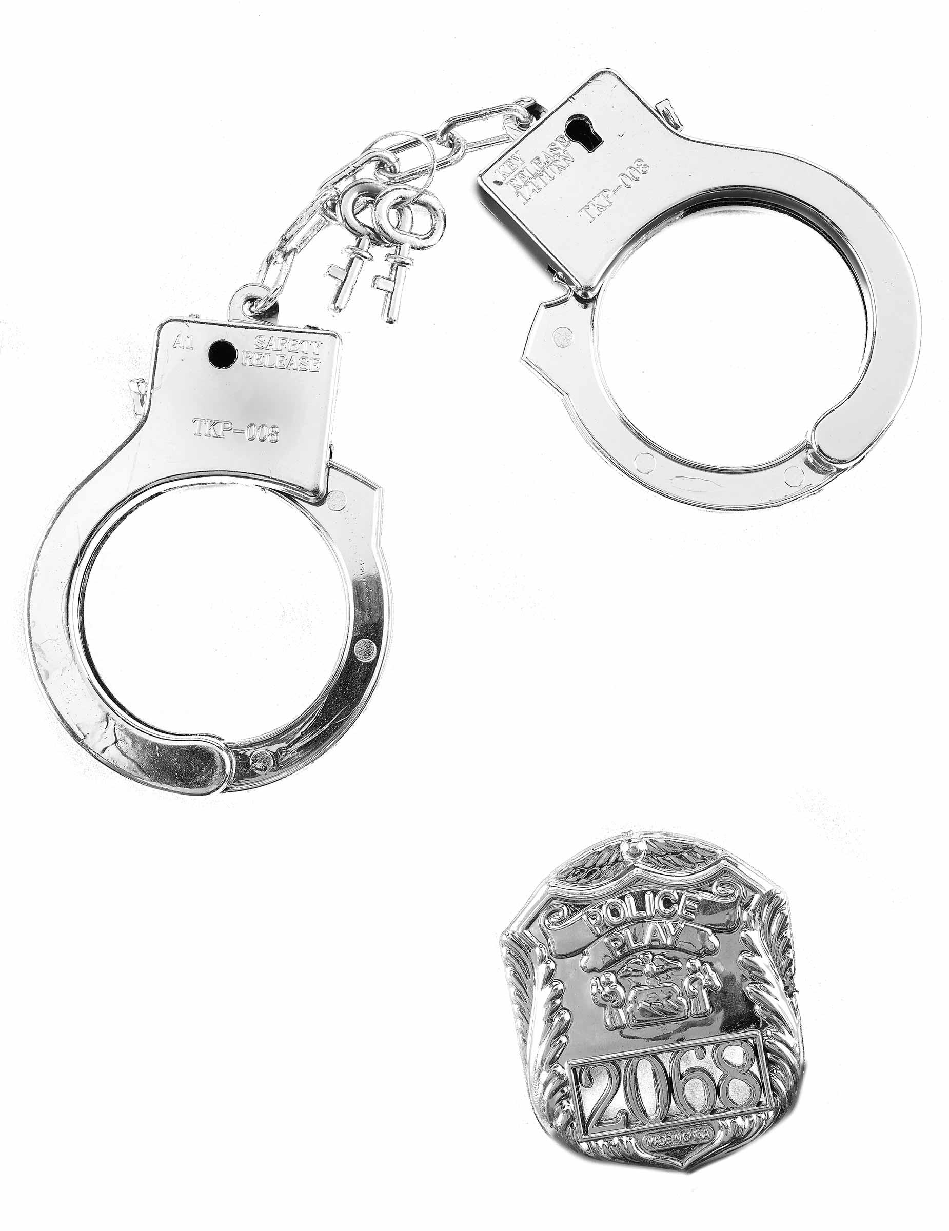 polizei handschellen mit polizeimarke silber g nstige. Black Bedroom Furniture Sets. Home Design Ideas