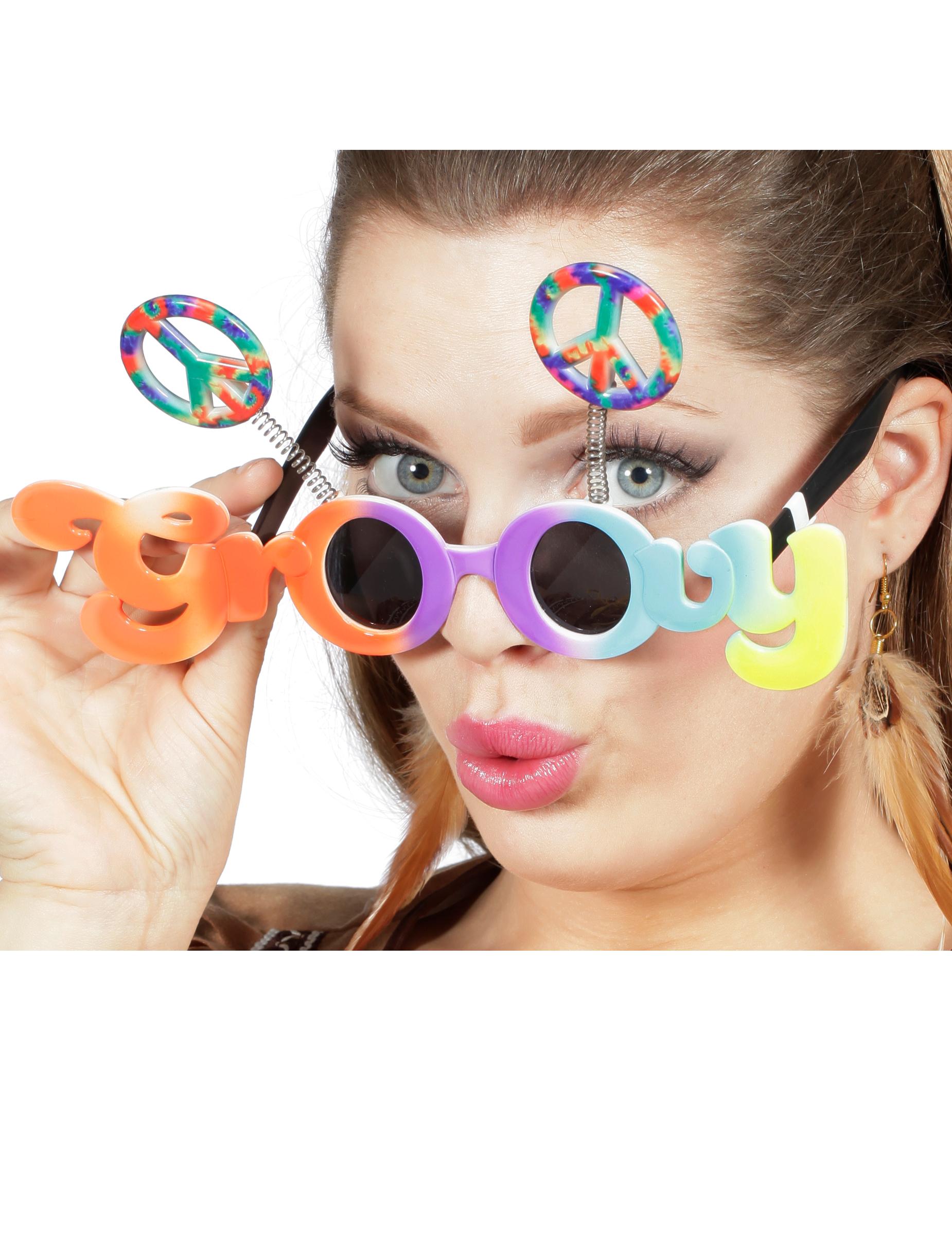 Groovy Brille für Erwachsene bunt , günstige Faschings Accessoires ...