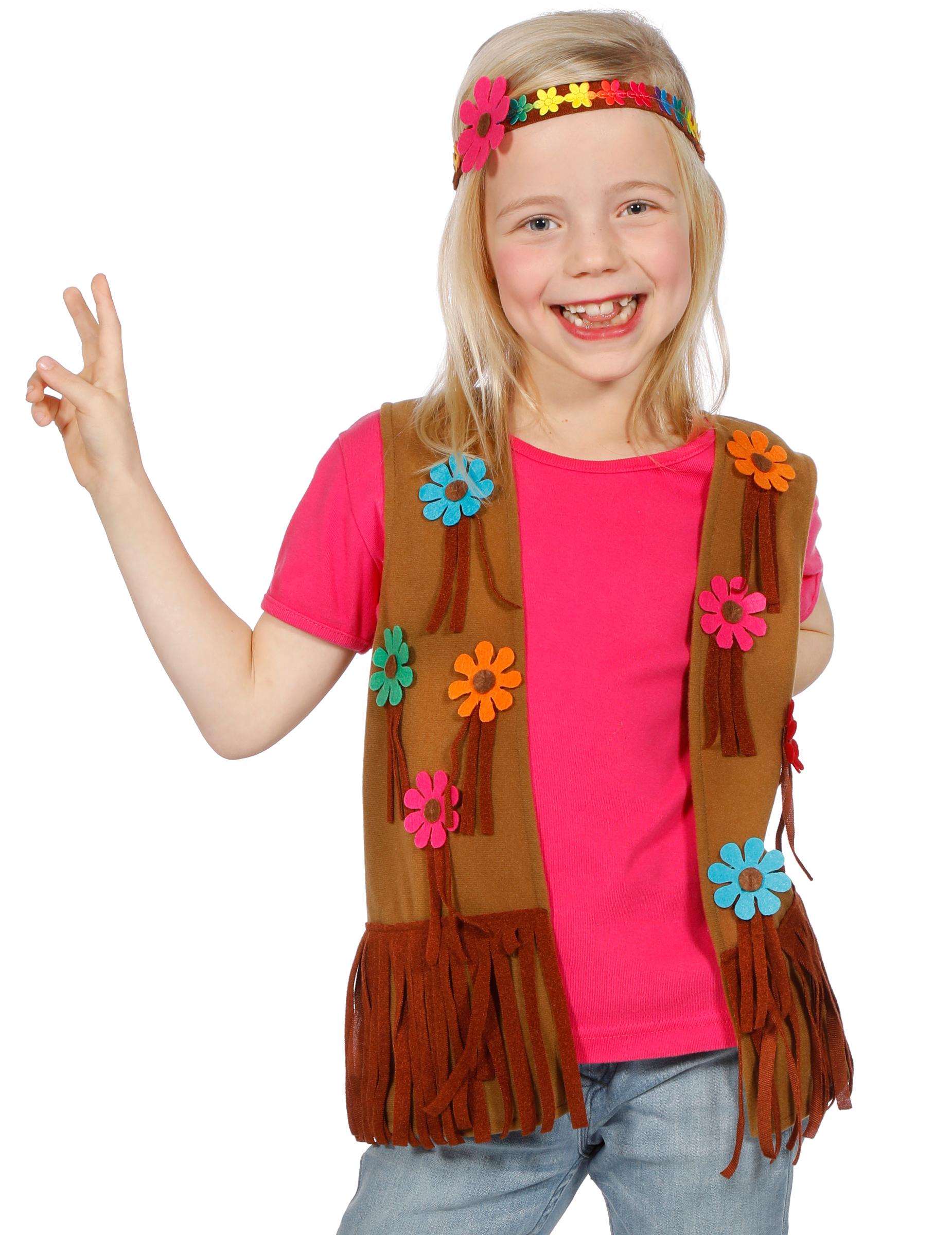 hippie weste und stirnband f r kinder braun bunt g nstige faschings kost me bei karneval megastore. Black Bedroom Furniture Sets. Home Design Ideas