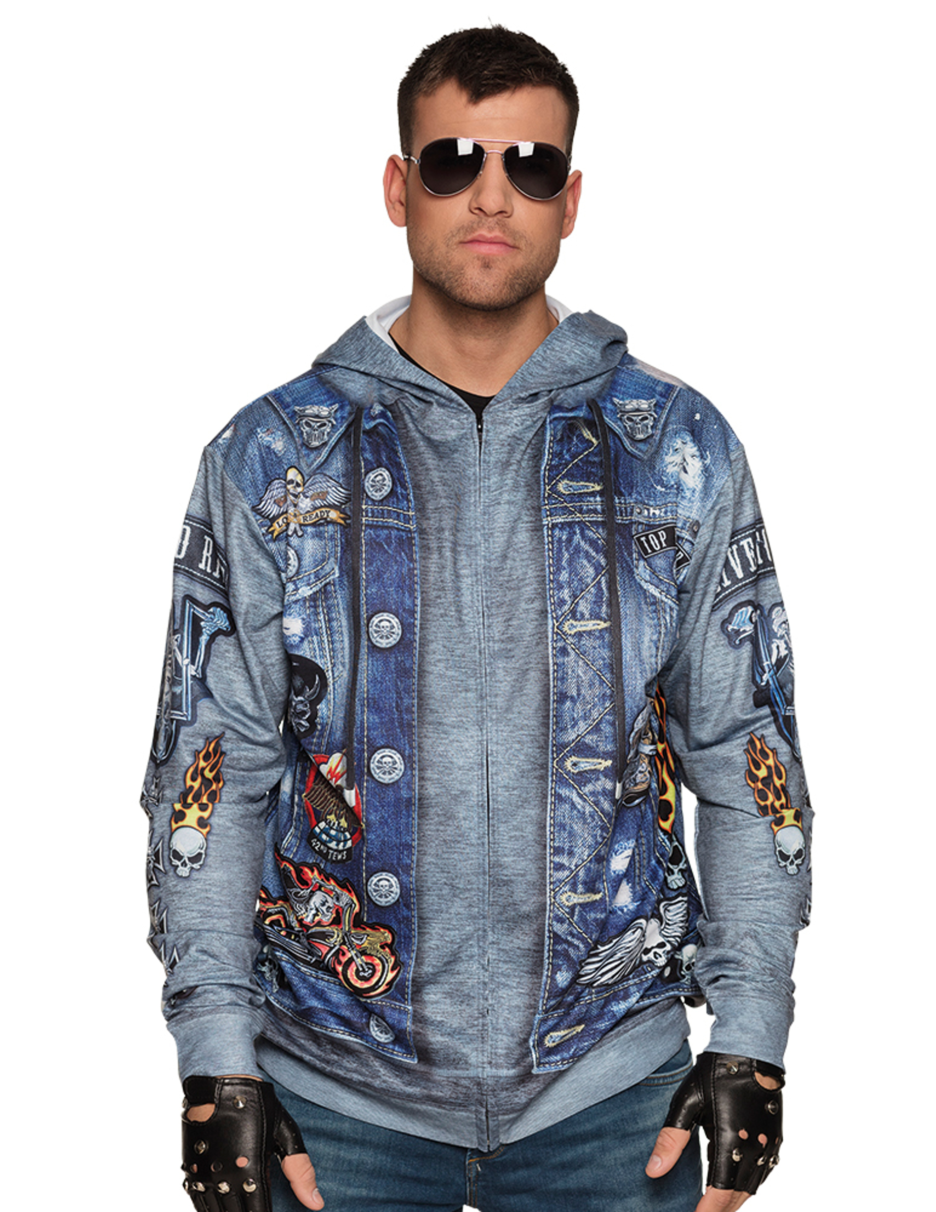 biker hoodie f r m nner rockerkost m oberteil blau g nstige faschings kost me bei karneval. Black Bedroom Furniture Sets. Home Design Ideas