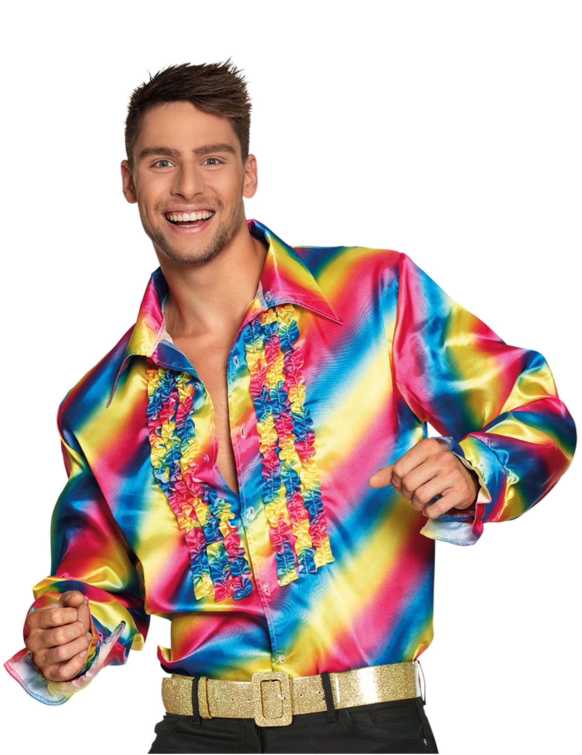 regenbogen disco shirt f r erwachsene g nstige faschings kost me bei karneval megastore. Black Bedroom Furniture Sets. Home Design Ideas