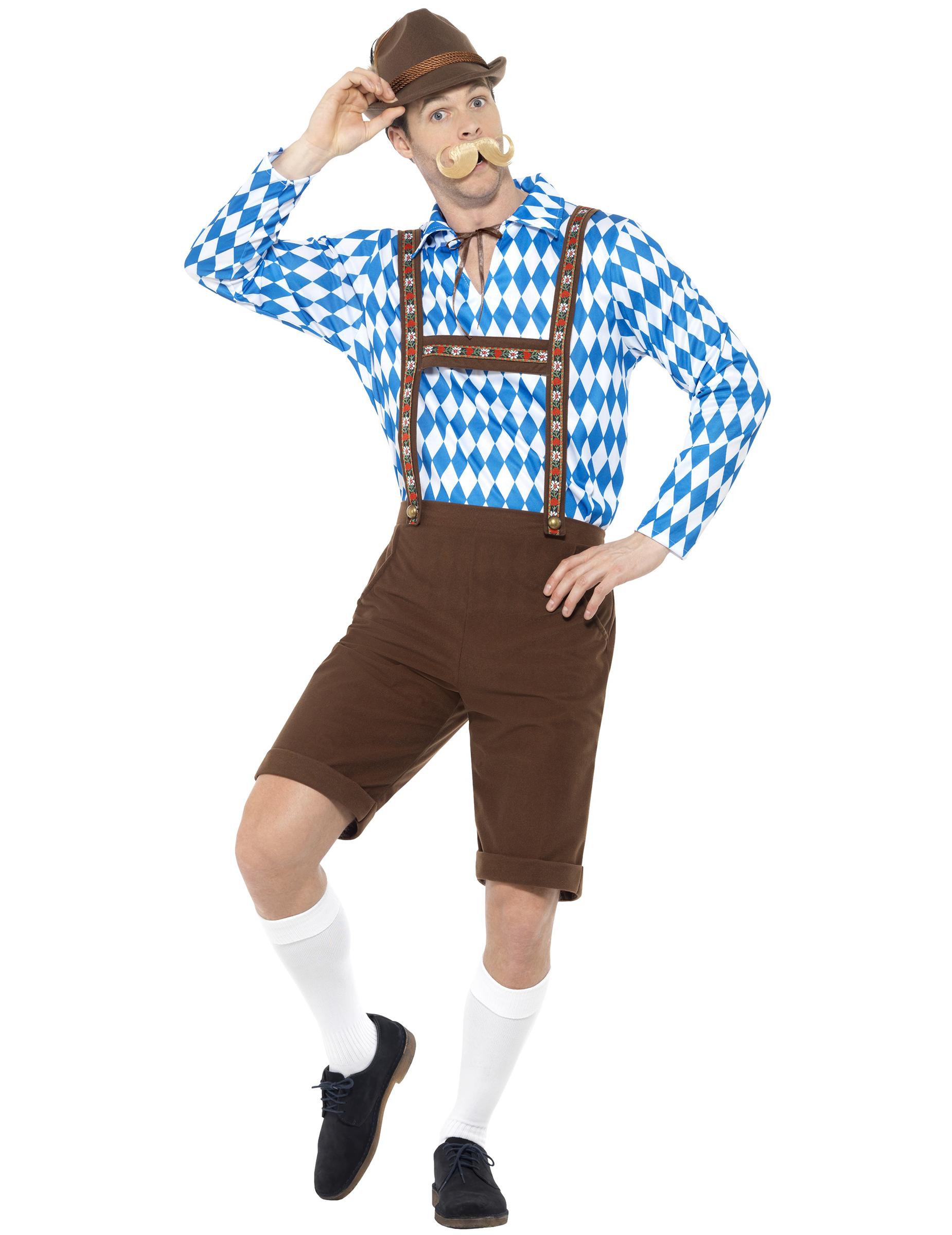 bayrisches trachtenkost m f r herren braun blau weiss g nstige faschings kost me bei karneval. Black Bedroom Furniture Sets. Home Design Ideas