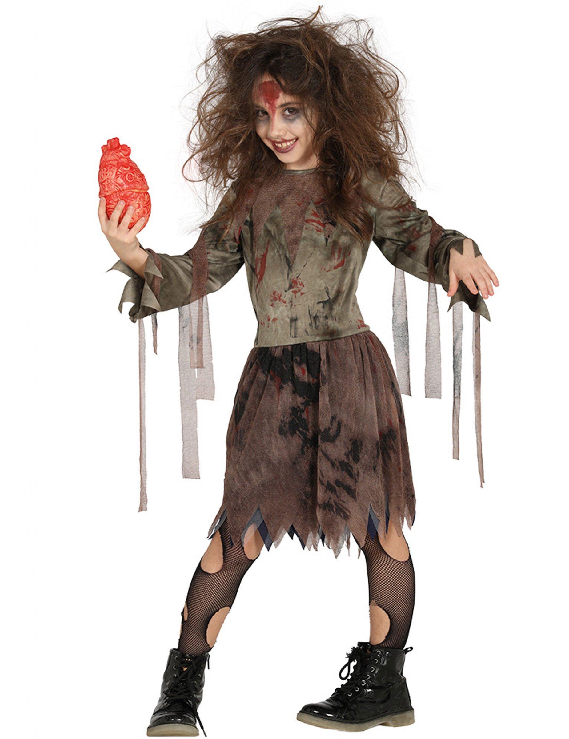 Zombie Kostüm Für Mädchen Halloween Braun Günstige Faschings