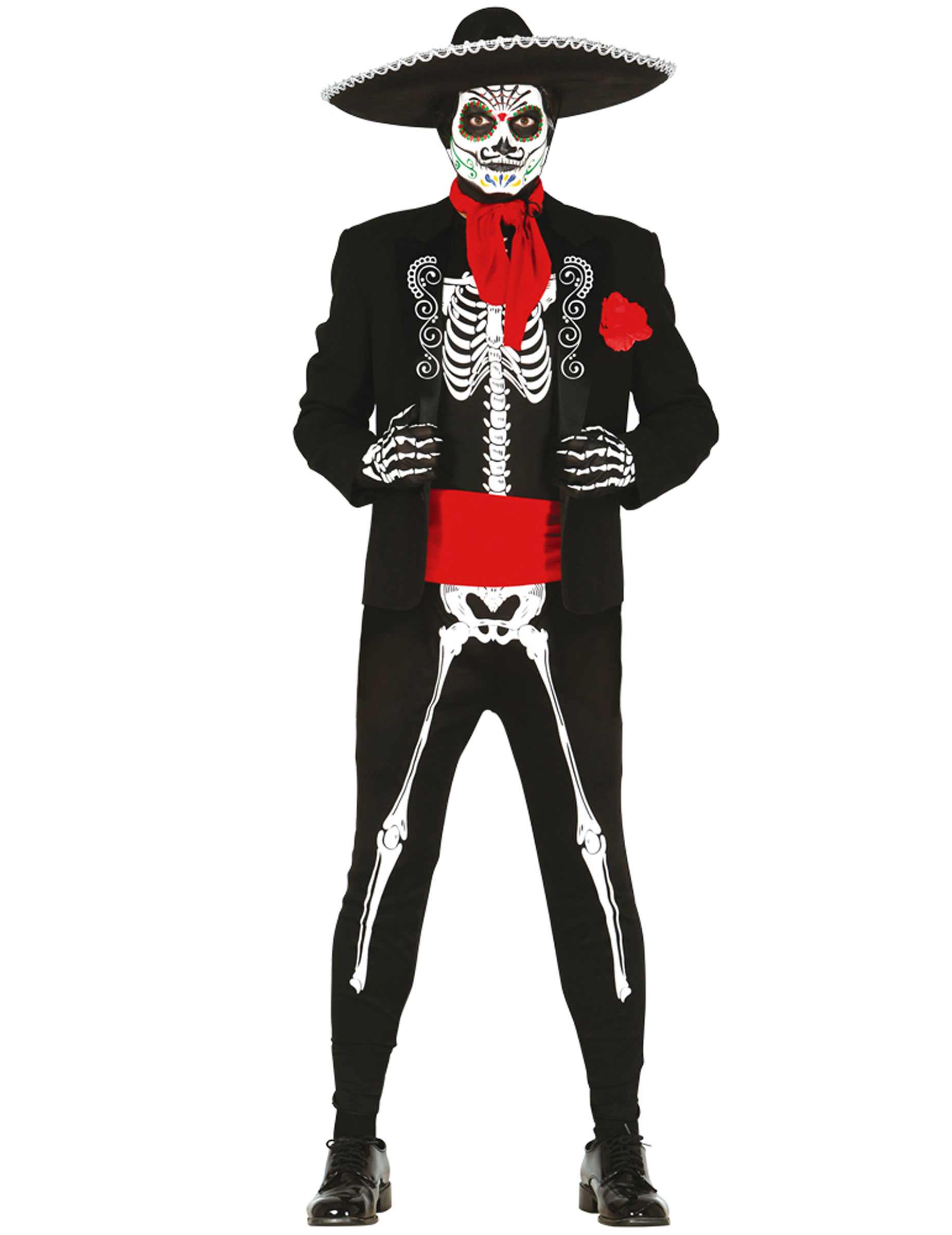dia de los muertos kost m f r herren skelett anzug schwarz weiss rot g nstige faschings. Black Bedroom Furniture Sets. Home Design Ideas