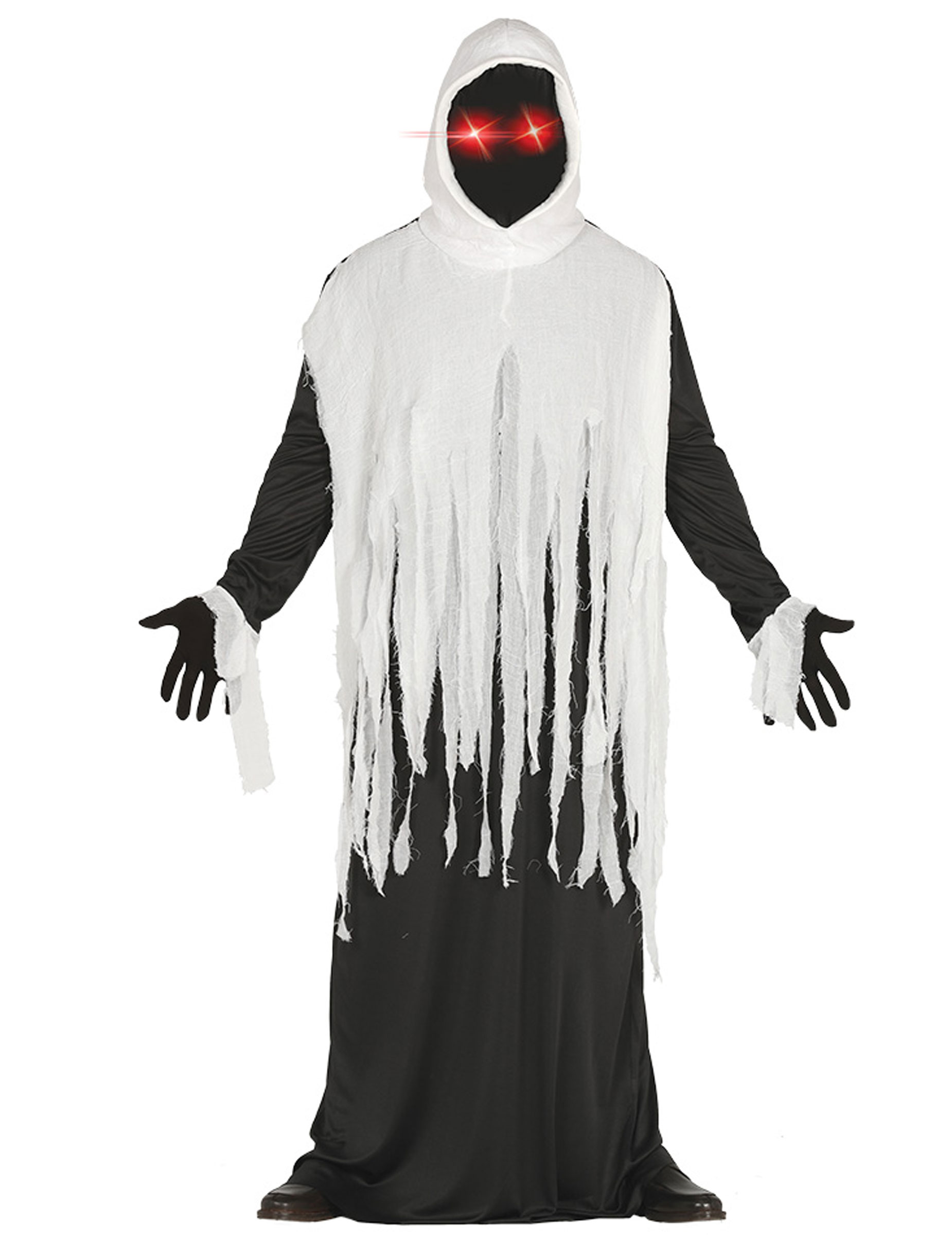 Preis vergleichen verkauf uk 100% Qualität Gespenster-Kostüm mit LED-Augen Halloween schwarz-weiß
