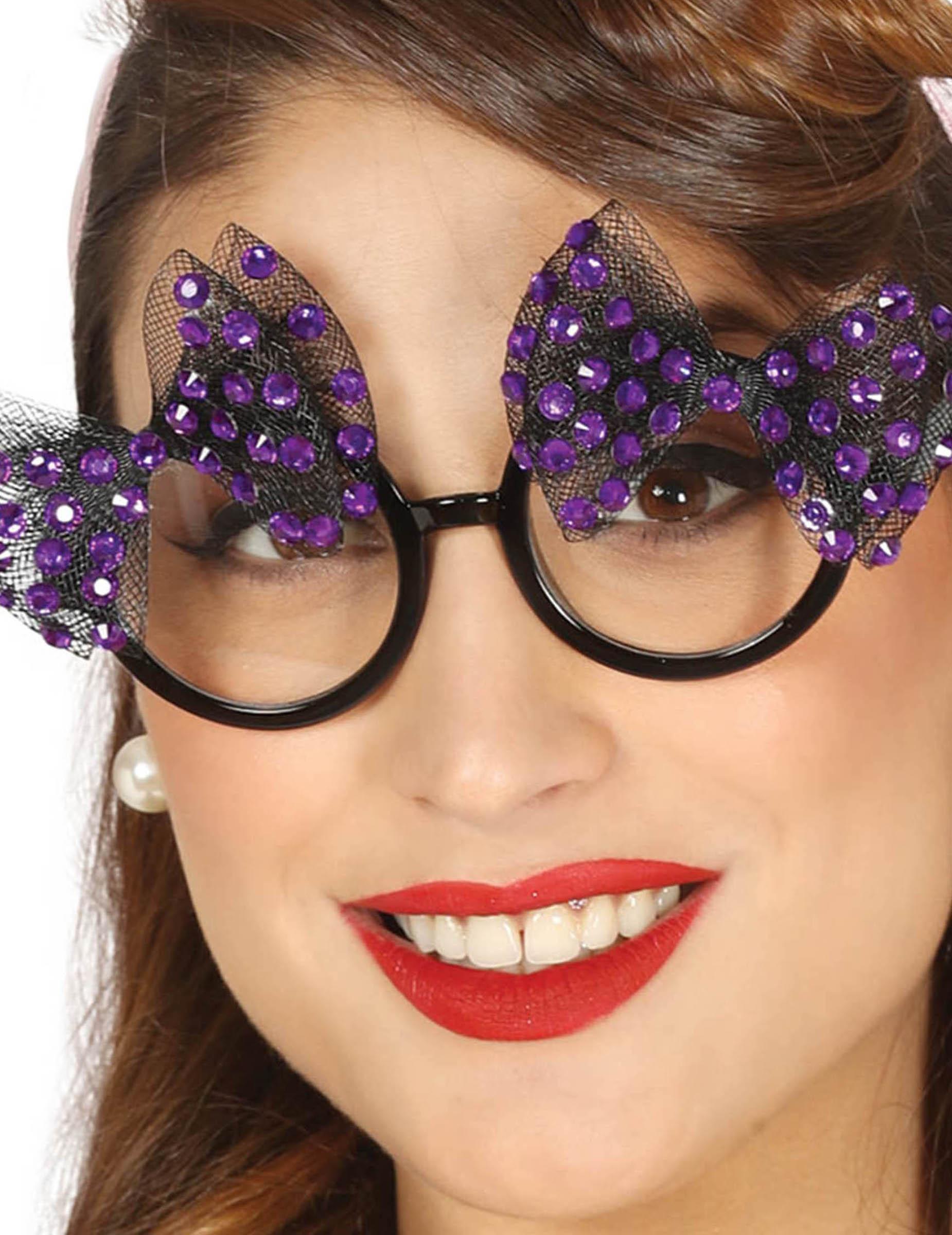 50er jahre brille mit violetten perlen f r damen g nstige faschings accessoires zubeh r bei. Black Bedroom Furniture Sets. Home Design Ideas