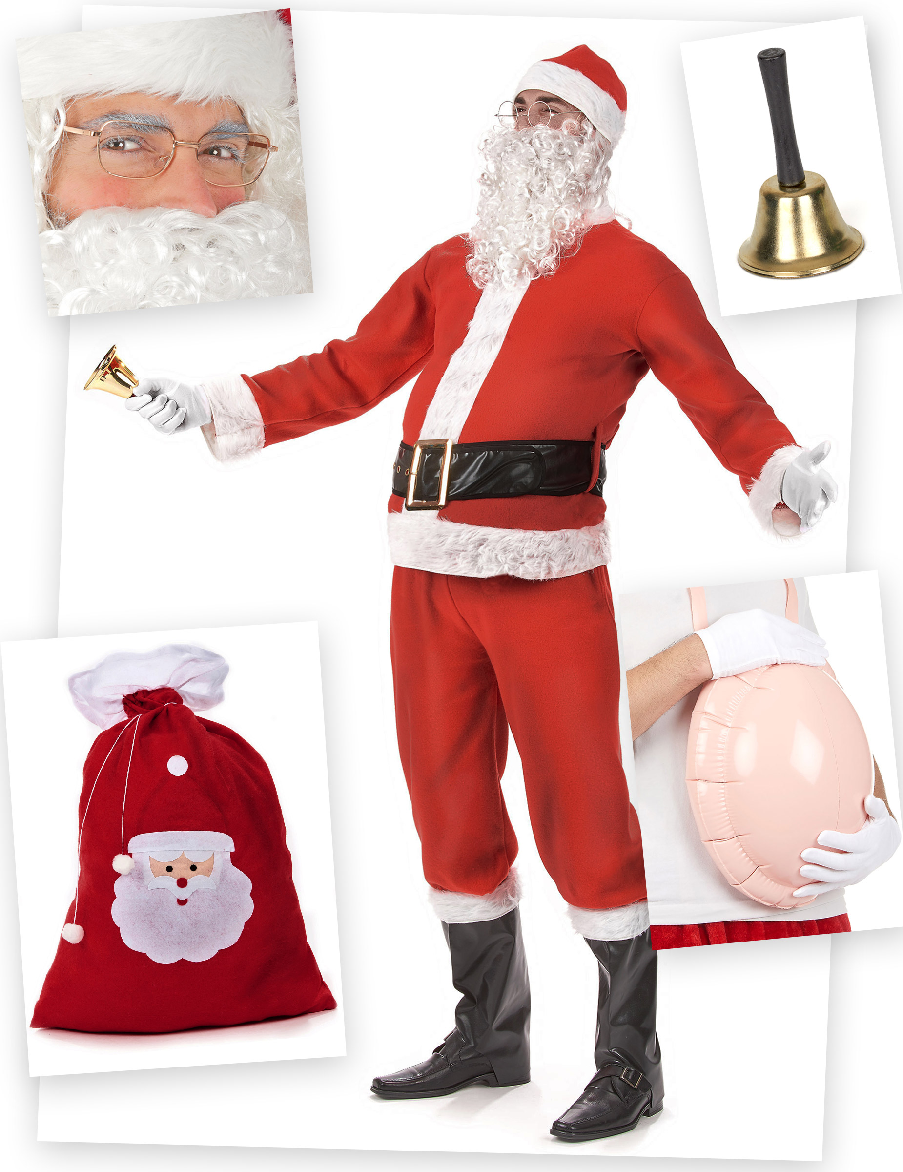 weihnachtsmann kost mset 11 teilig rot weiss g nstige. Black Bedroom Furniture Sets. Home Design Ideas