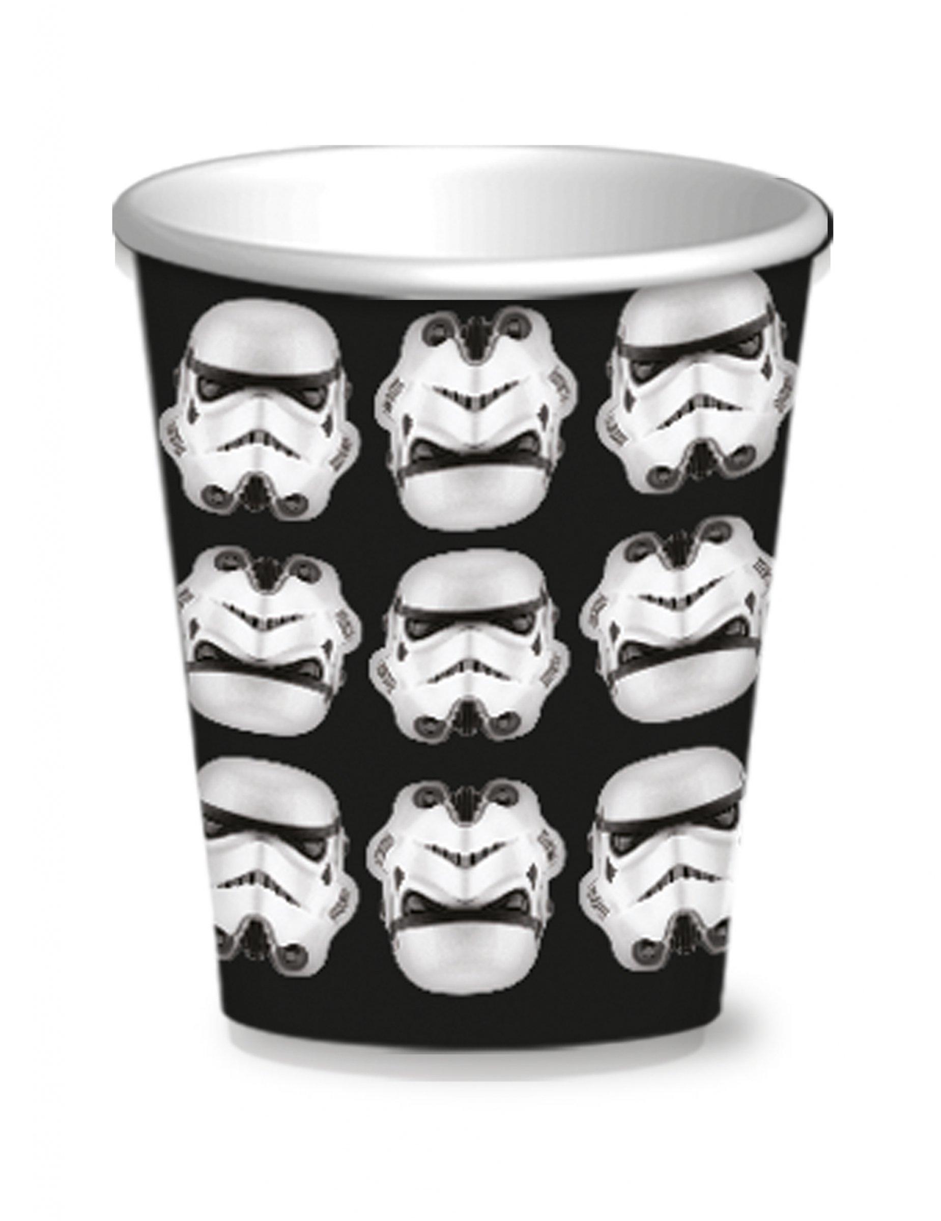 stormtrooper becher star wars tischdeko 8 st ck schwarz weiss 250ml g nstige faschings. Black Bedroom Furniture Sets. Home Design Ideas