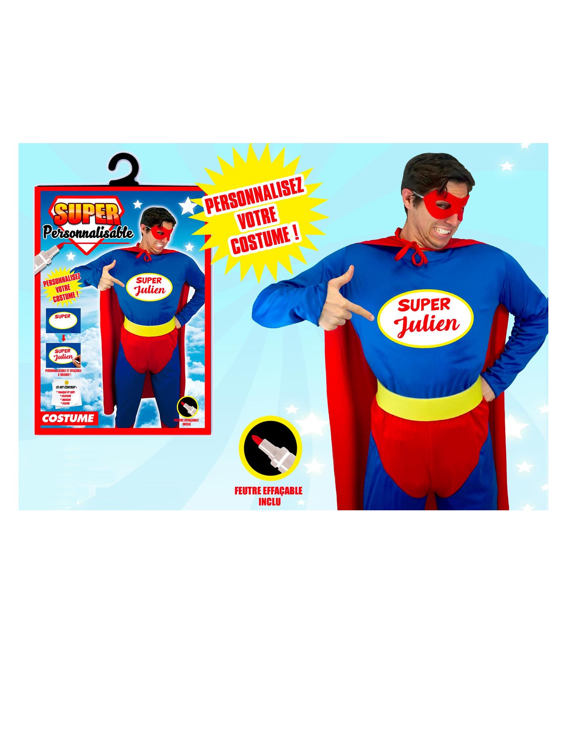 personalisierbares superhelden kostum blau rot