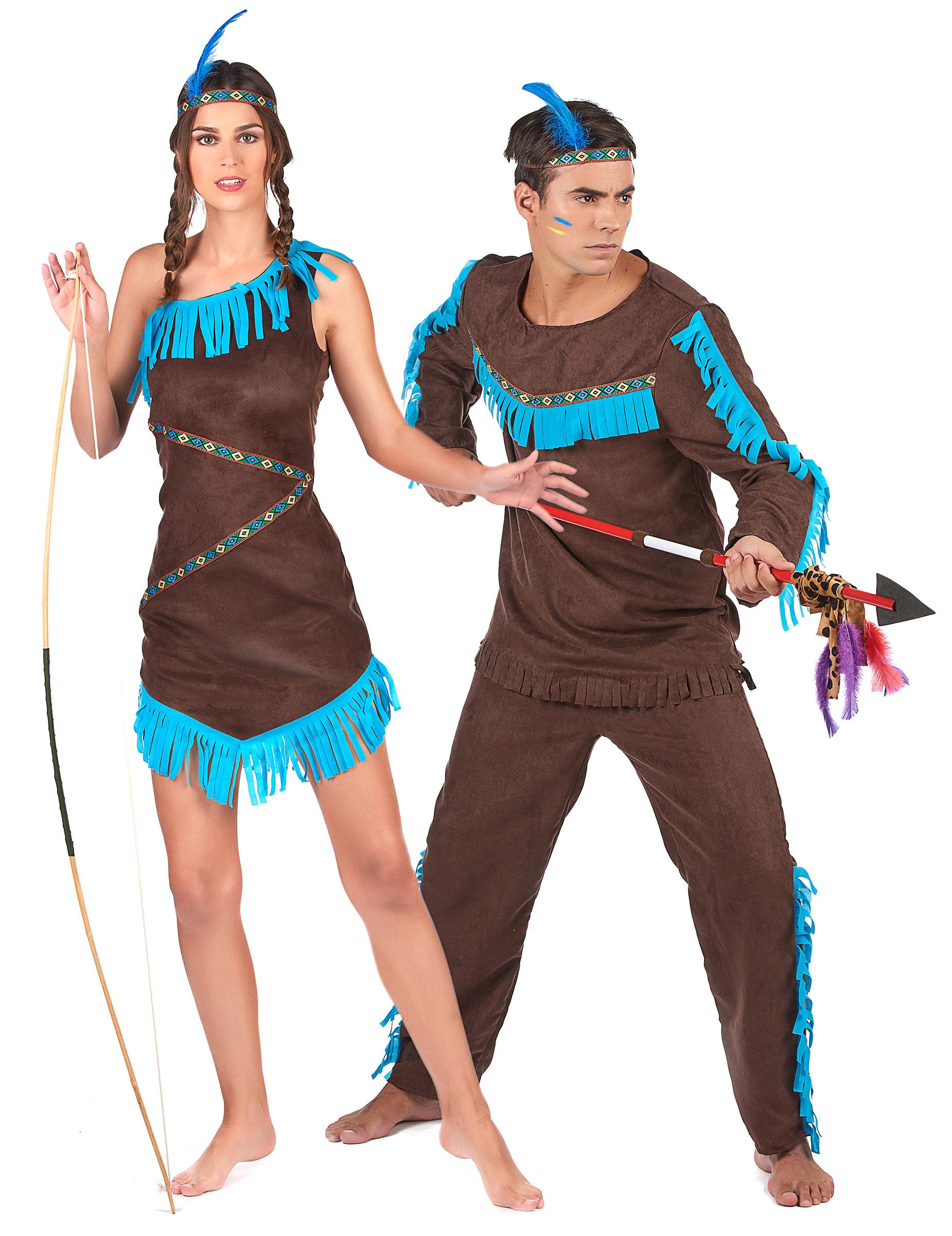 Indianer Paarkostum Fur Mann Und Frau Braun Blau Gunstige