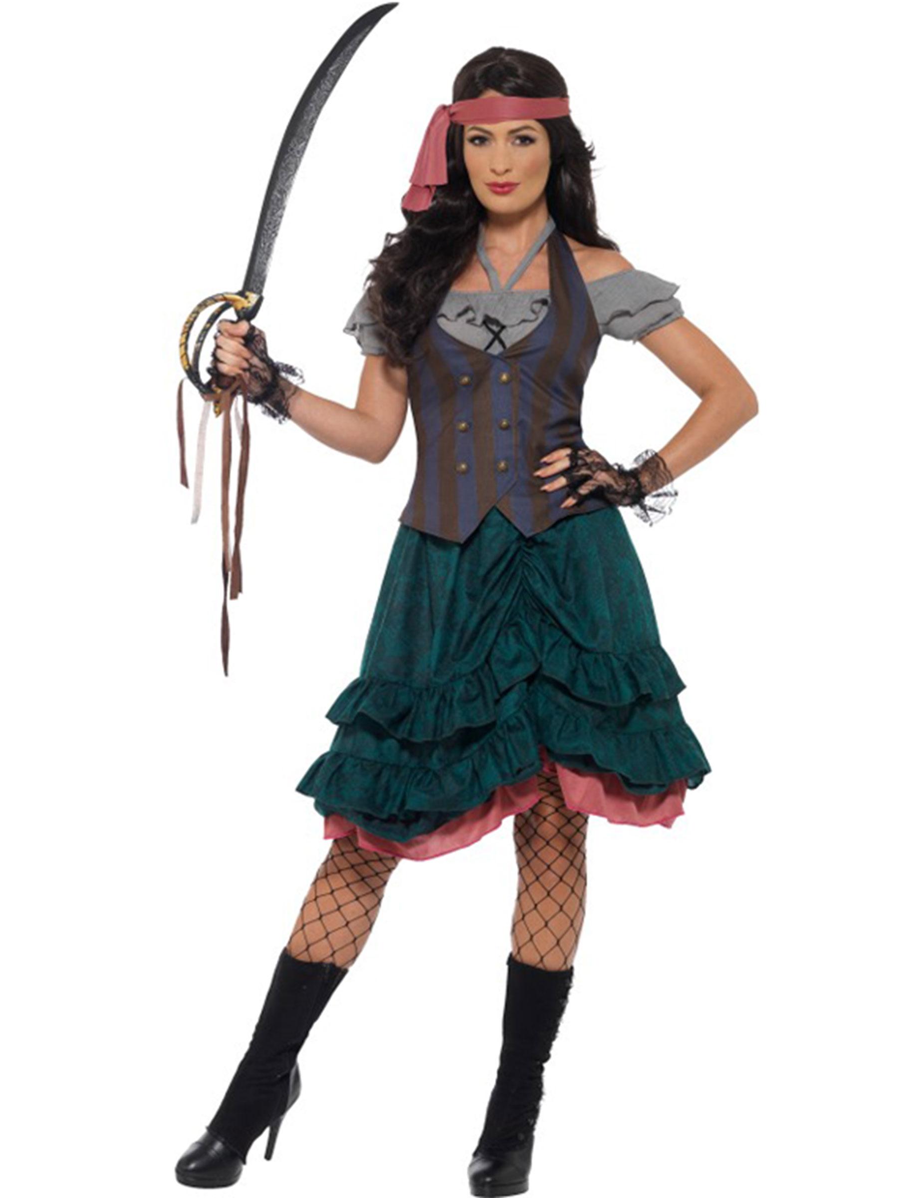 Piratenbraut Damenkostum Bunt