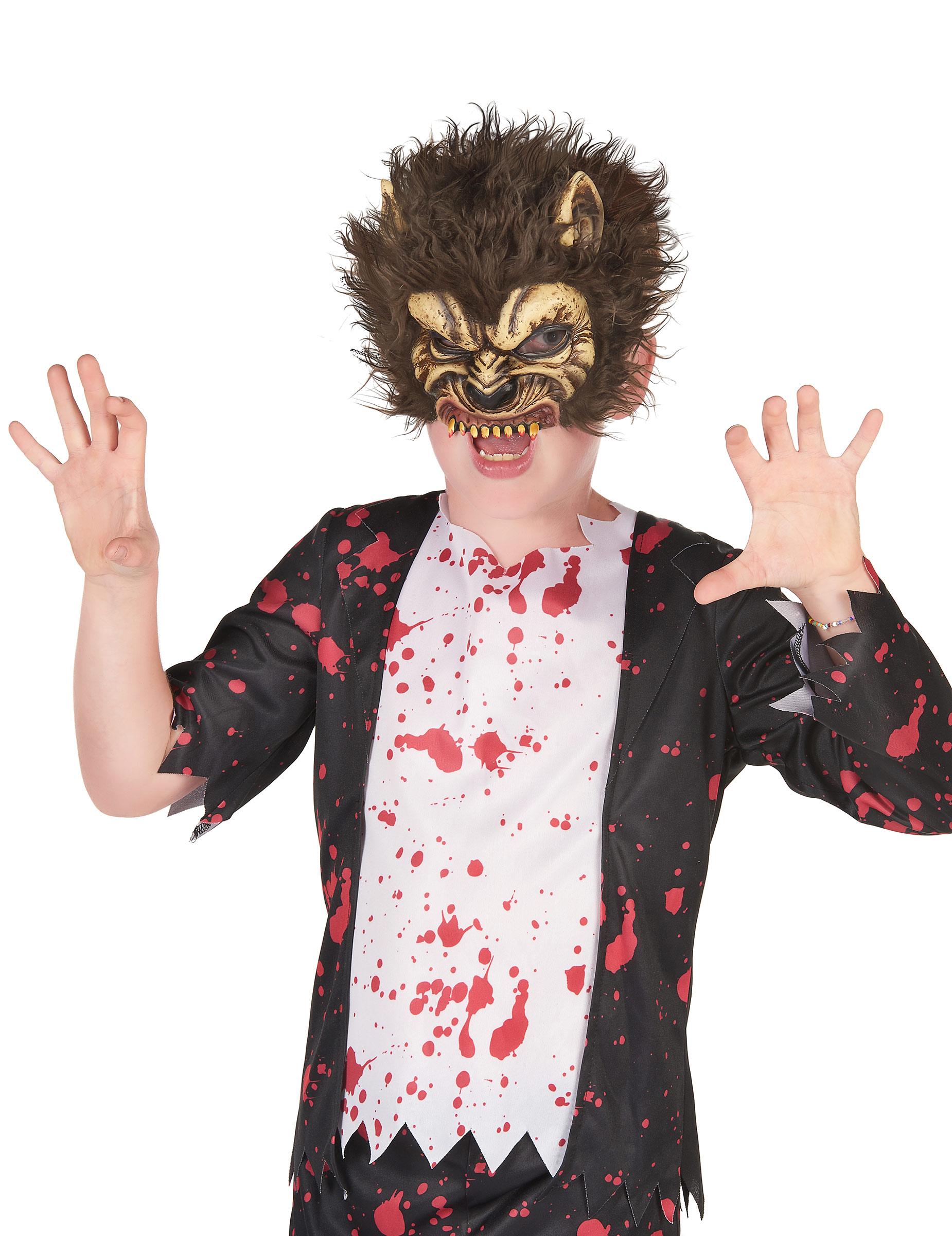 werwolf maske f r kinder halloweenmaske braun g nstige faschings masken bei karneval megastore. Black Bedroom Furniture Sets. Home Design Ideas