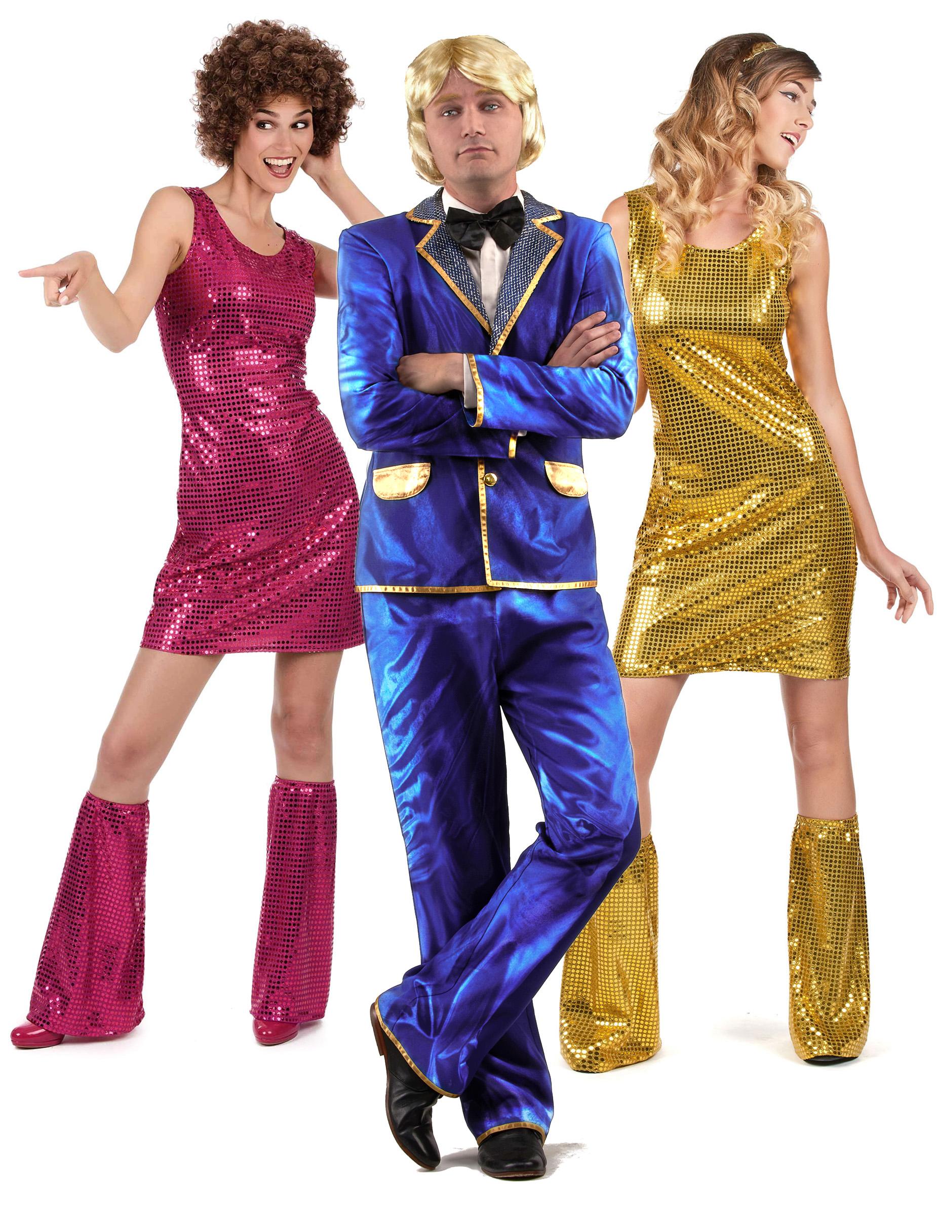 70er jahre disco gruppenkost m s nger und t nzerinnen pink blau gold g nstige faschings. Black Bedroom Furniture Sets. Home Design Ideas
