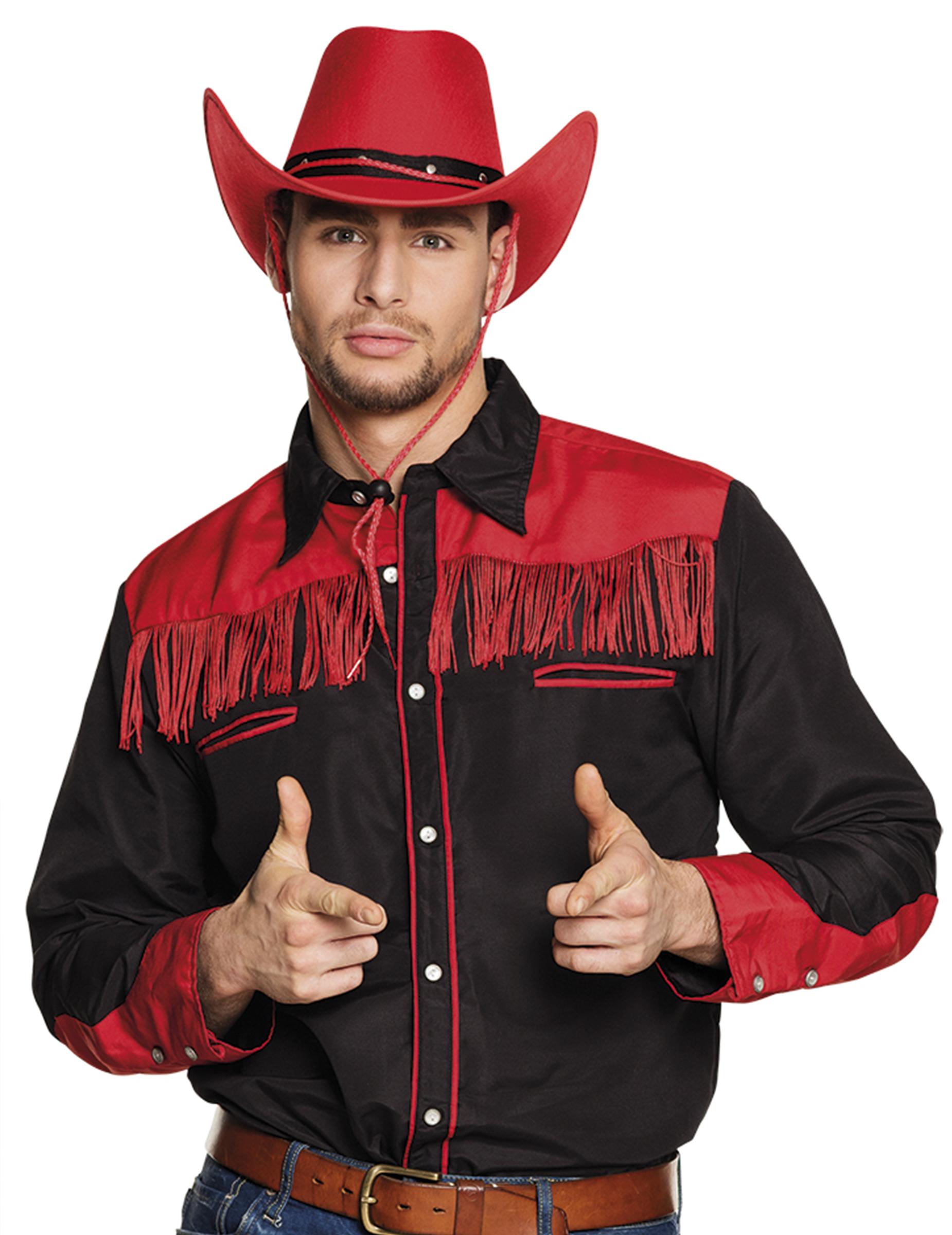 cowboy hemd f r herren schwarz rot g nstige faschings d guisements adultes bei karneval megastore. Black Bedroom Furniture Sets. Home Design Ideas