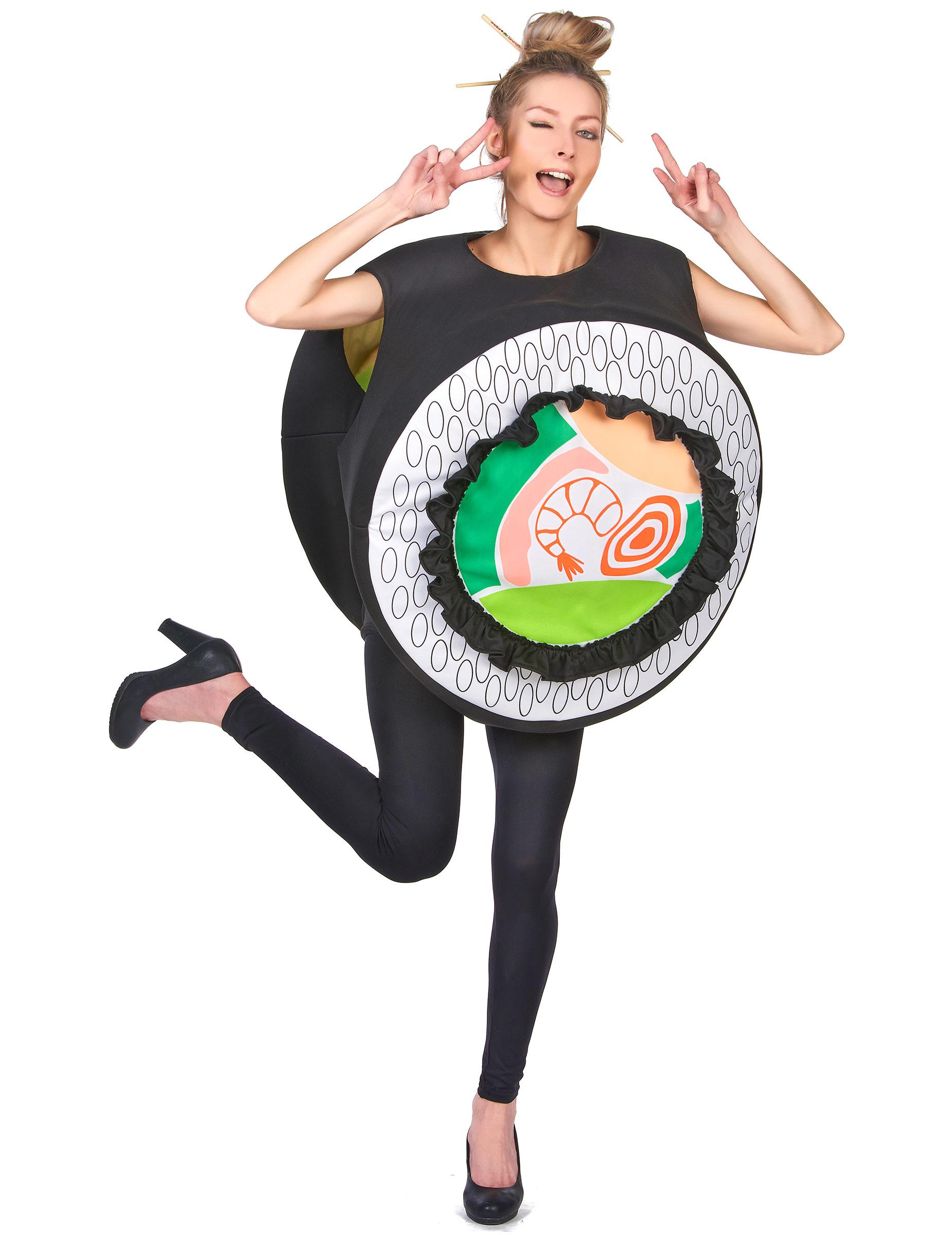 Sushi Kostum Witziges Faschingskostum Schwarz Weiss Grun Gunstige