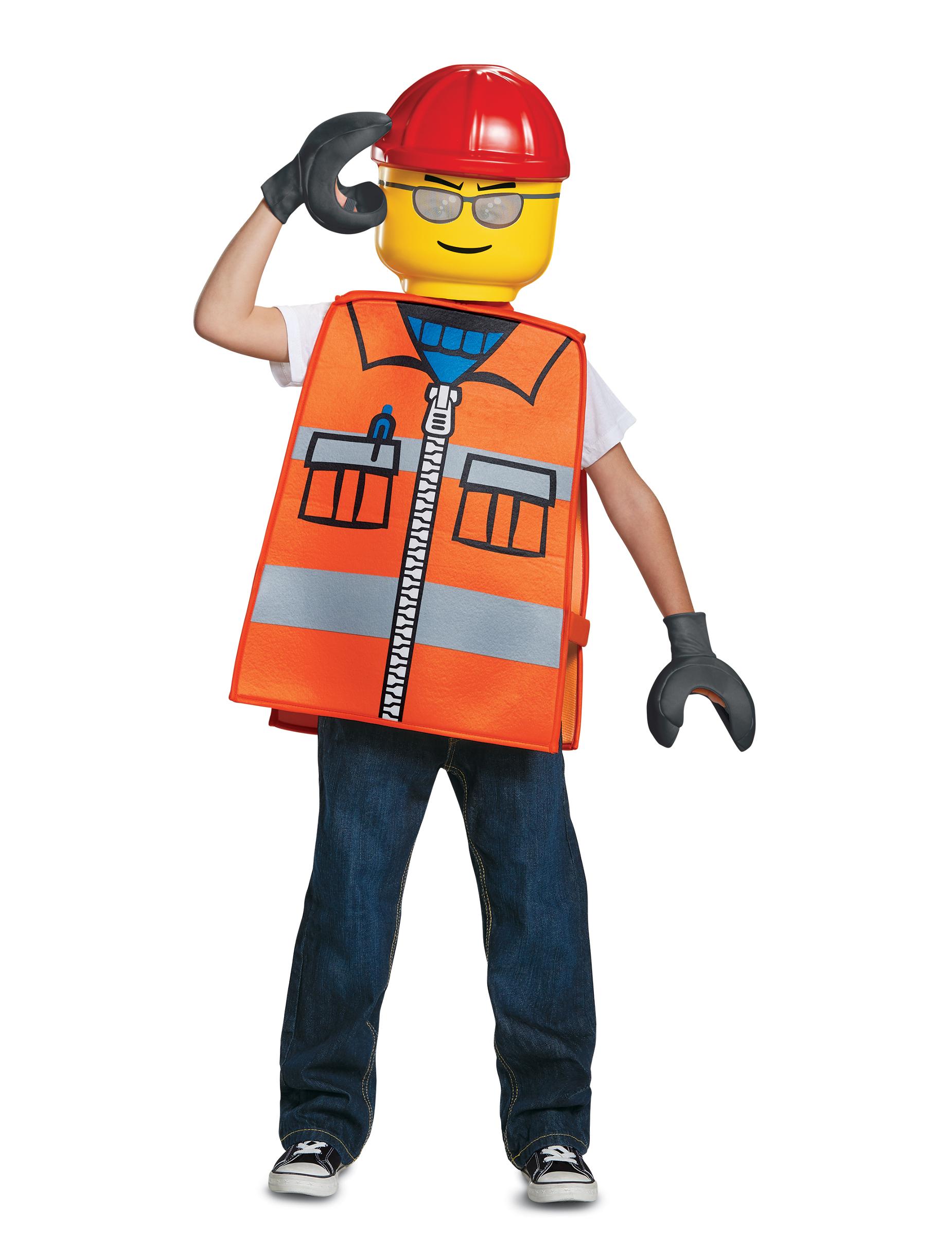 Lego Bauarbeiter Kostum Fur Kinder Karneval Orange Bunt Gunstige