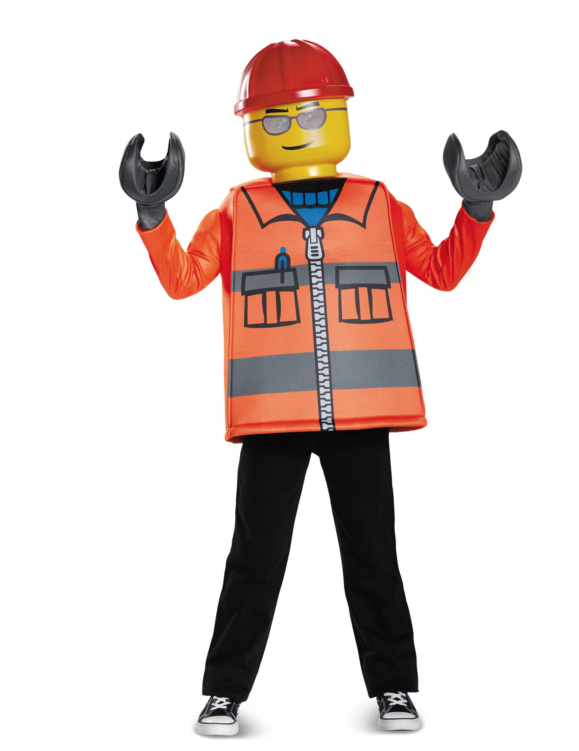 Bauarbeiter Lego Kostum Fur Kinder Karneval Orange Gelb Gunstige