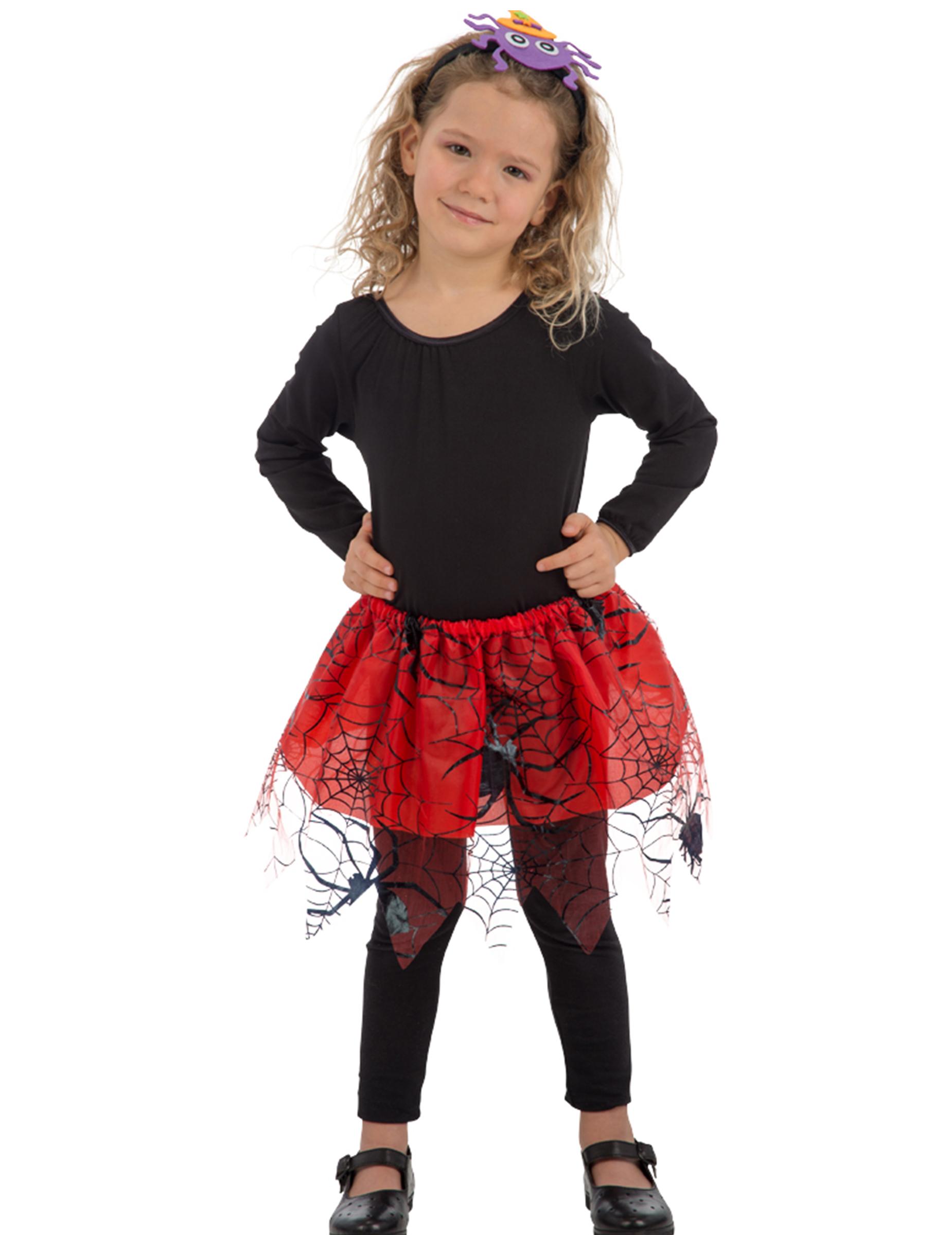 Spinnen Petticoat Fur Kinder Halloween Accessoire Rot Schwarz