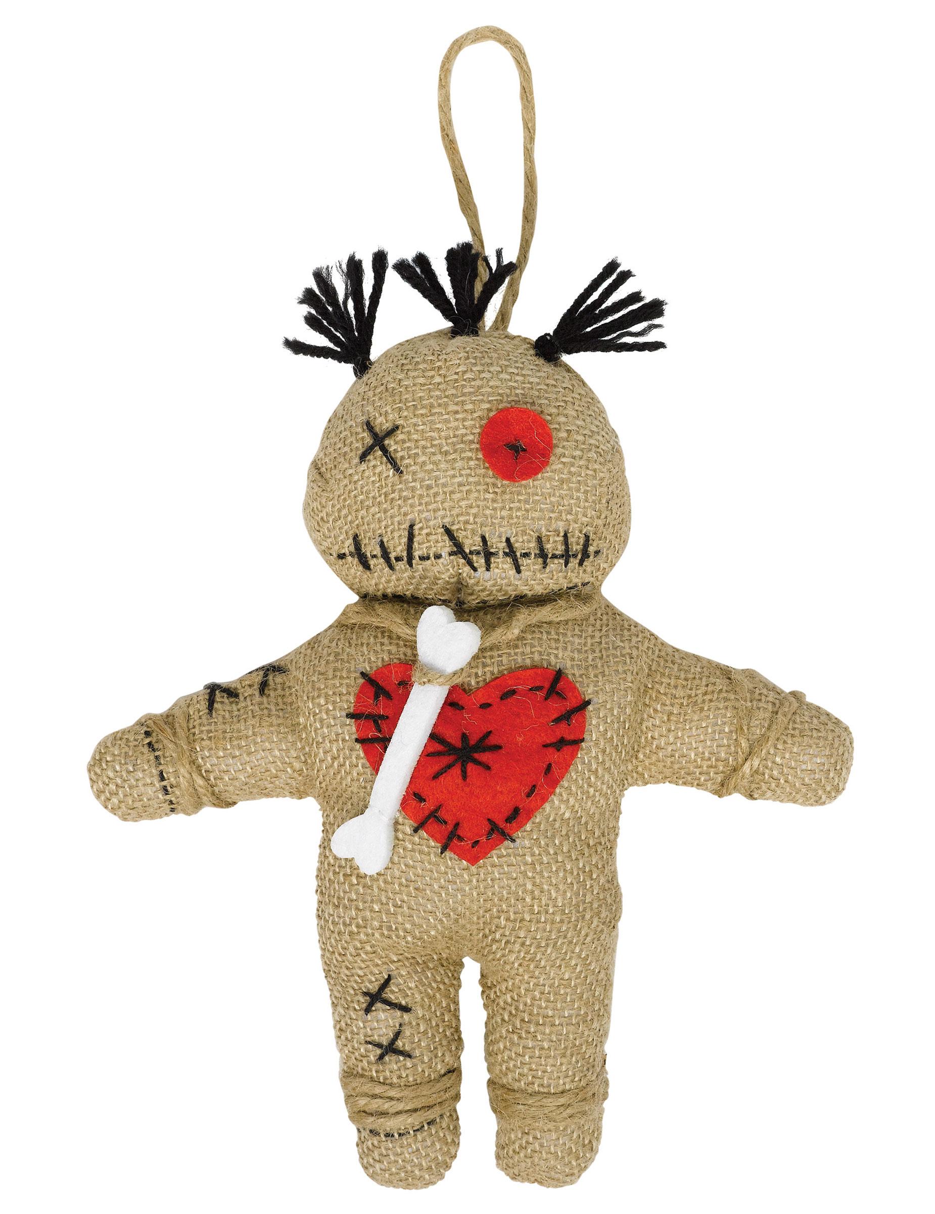 Voodoo-Puppe Halloween braun-rot , günstige Faschings