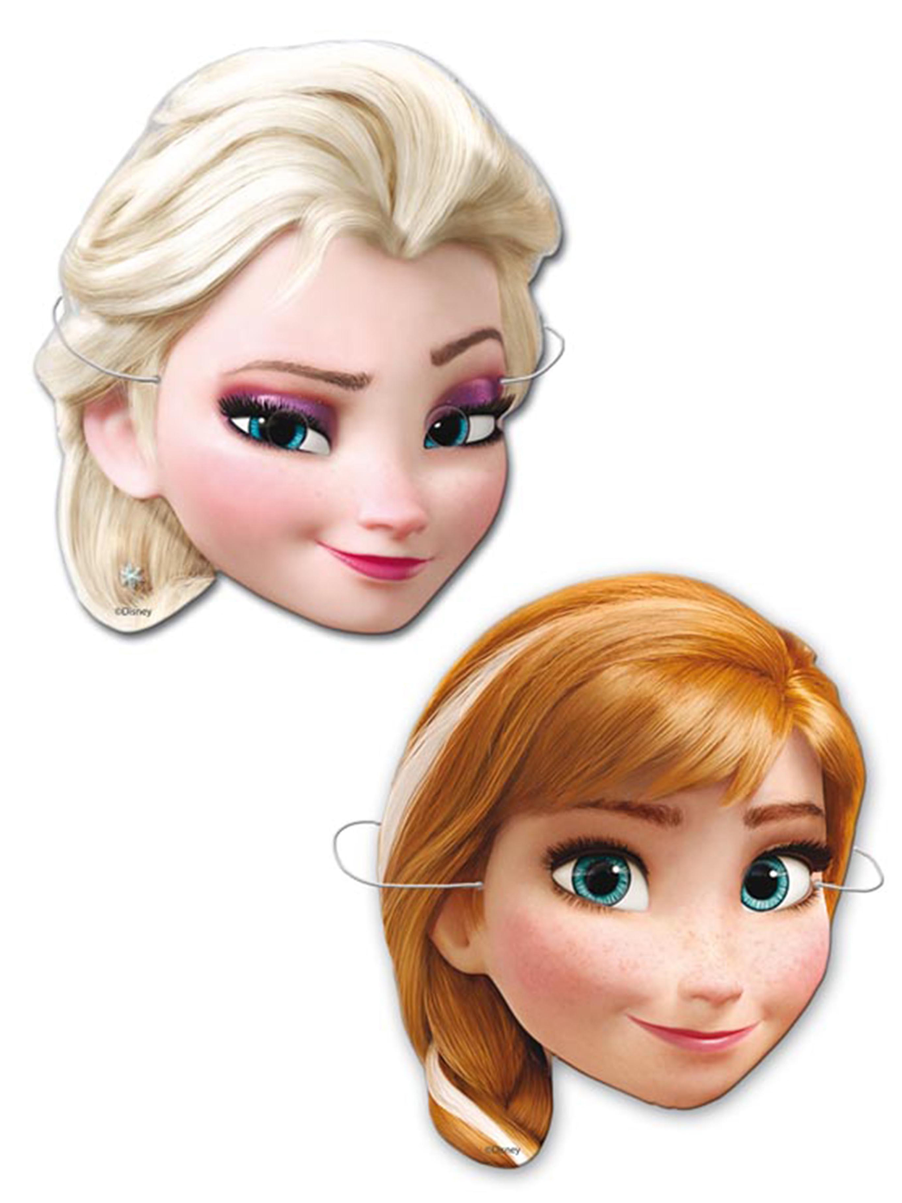 frozen partymasken f r kinder elsa und anna pappmasken 6 st ck bunt g nstige faschings. Black Bedroom Furniture Sets. Home Design Ideas