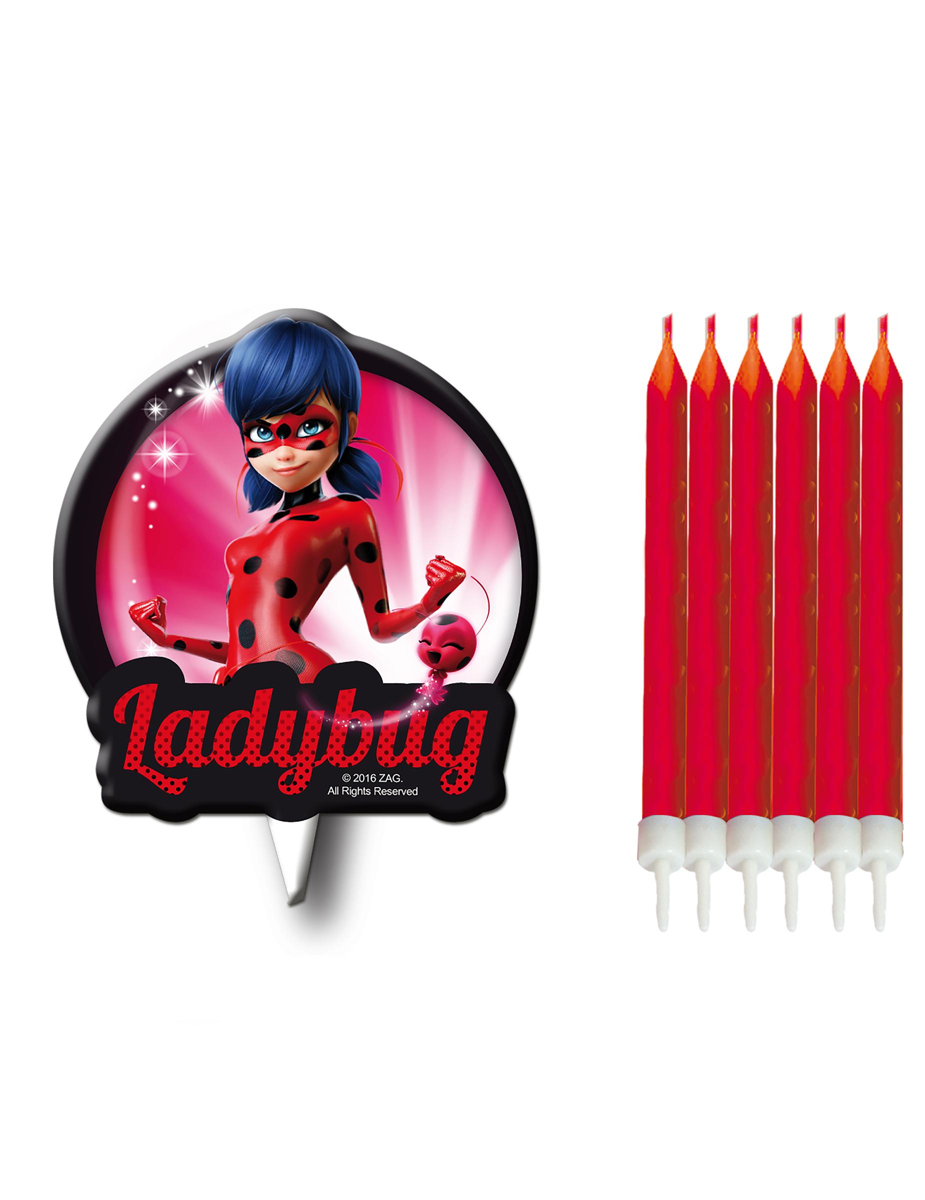 ladybug™kerzenset 7 stueck rotbunt  günstige faschings