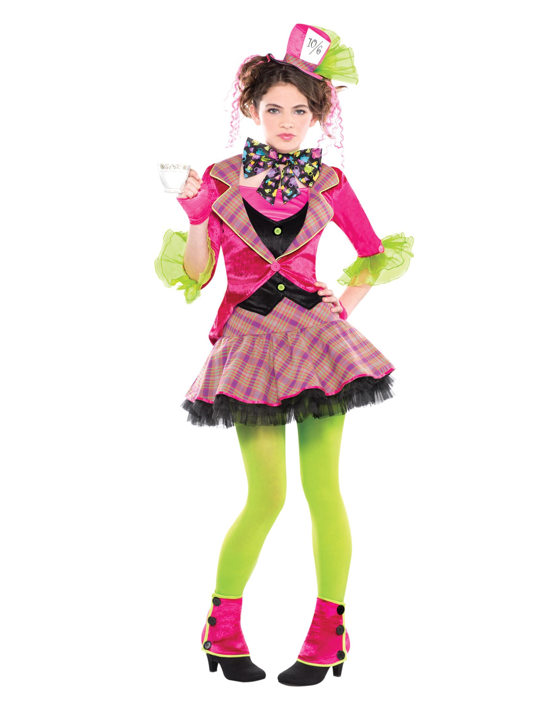 hutmacherin kost m f r m dchen fasching pink gr n g nstige faschings kost me bei karneval. Black Bedroom Furniture Sets. Home Design Ideas