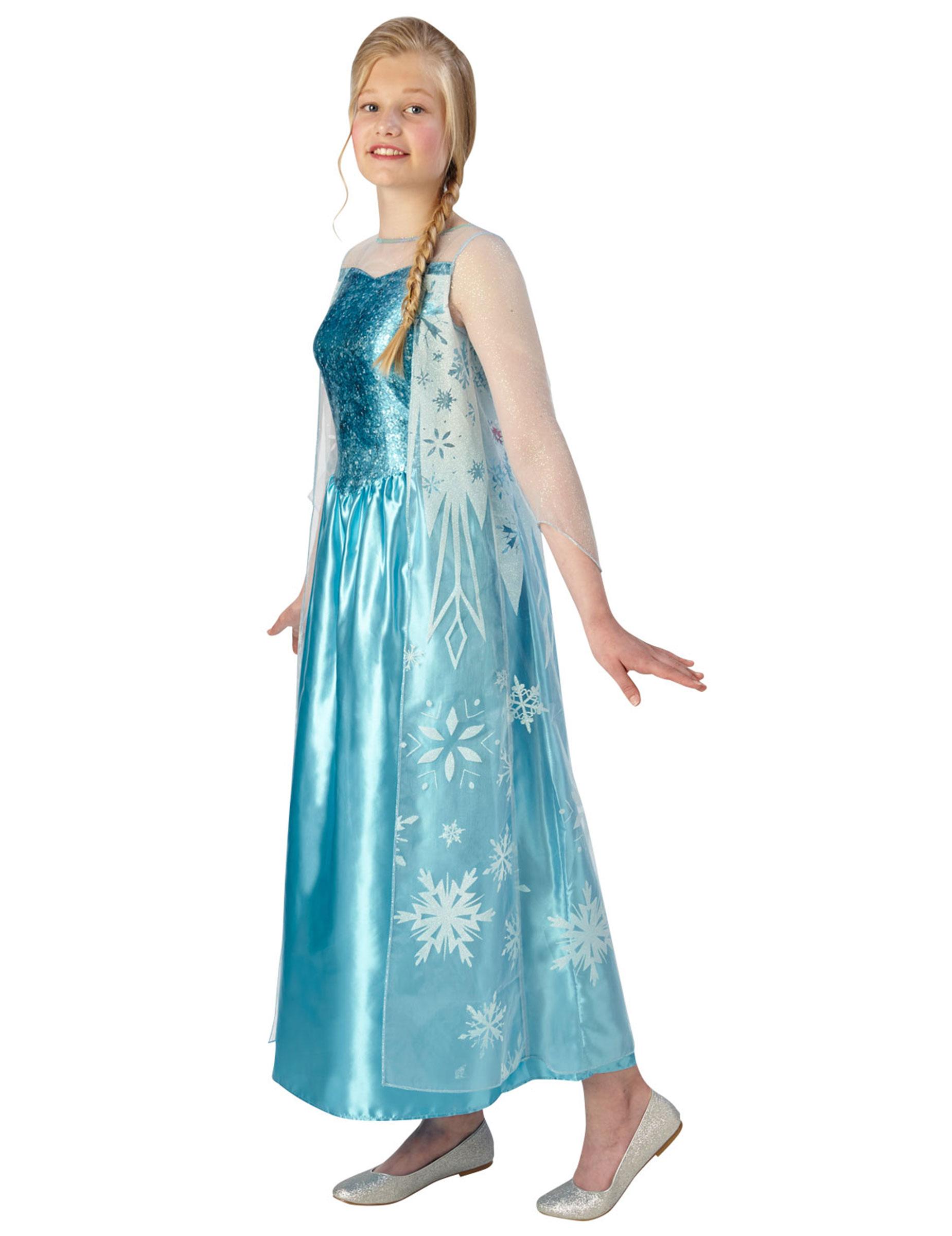 elsa frozen™-teenagerkostüm blau-weiss , günstige faschings
