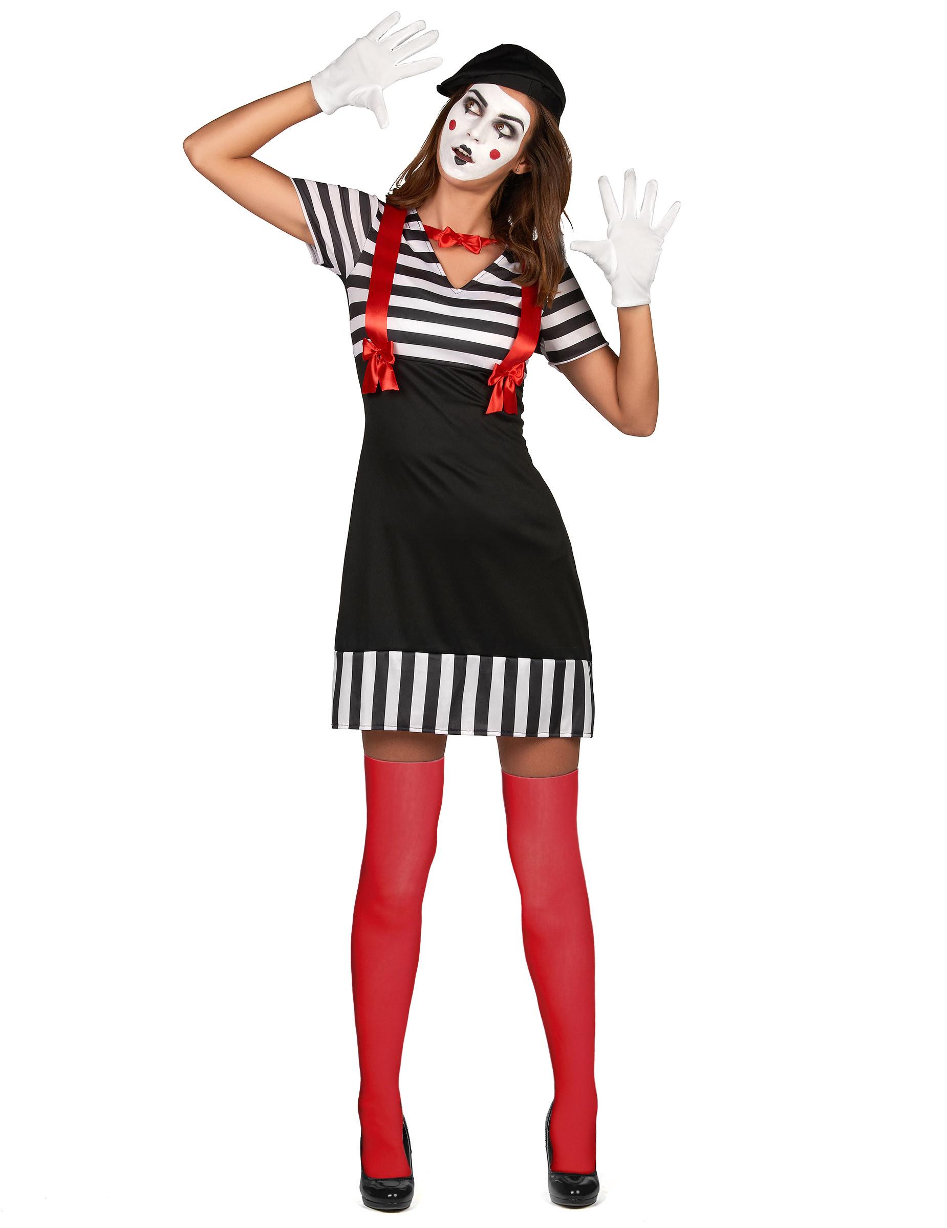 pantomime kost m f r damen karnevalskost m schwarz weiss rot g nstige faschings kost me bei. Black Bedroom Furniture Sets. Home Design Ideas