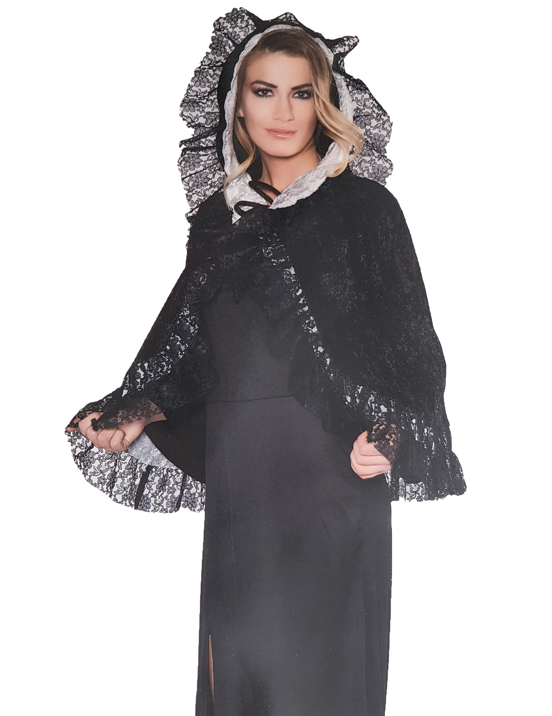Spitzen Umhang Fur Damen Kostum Accessoire Schwarz Gunstige