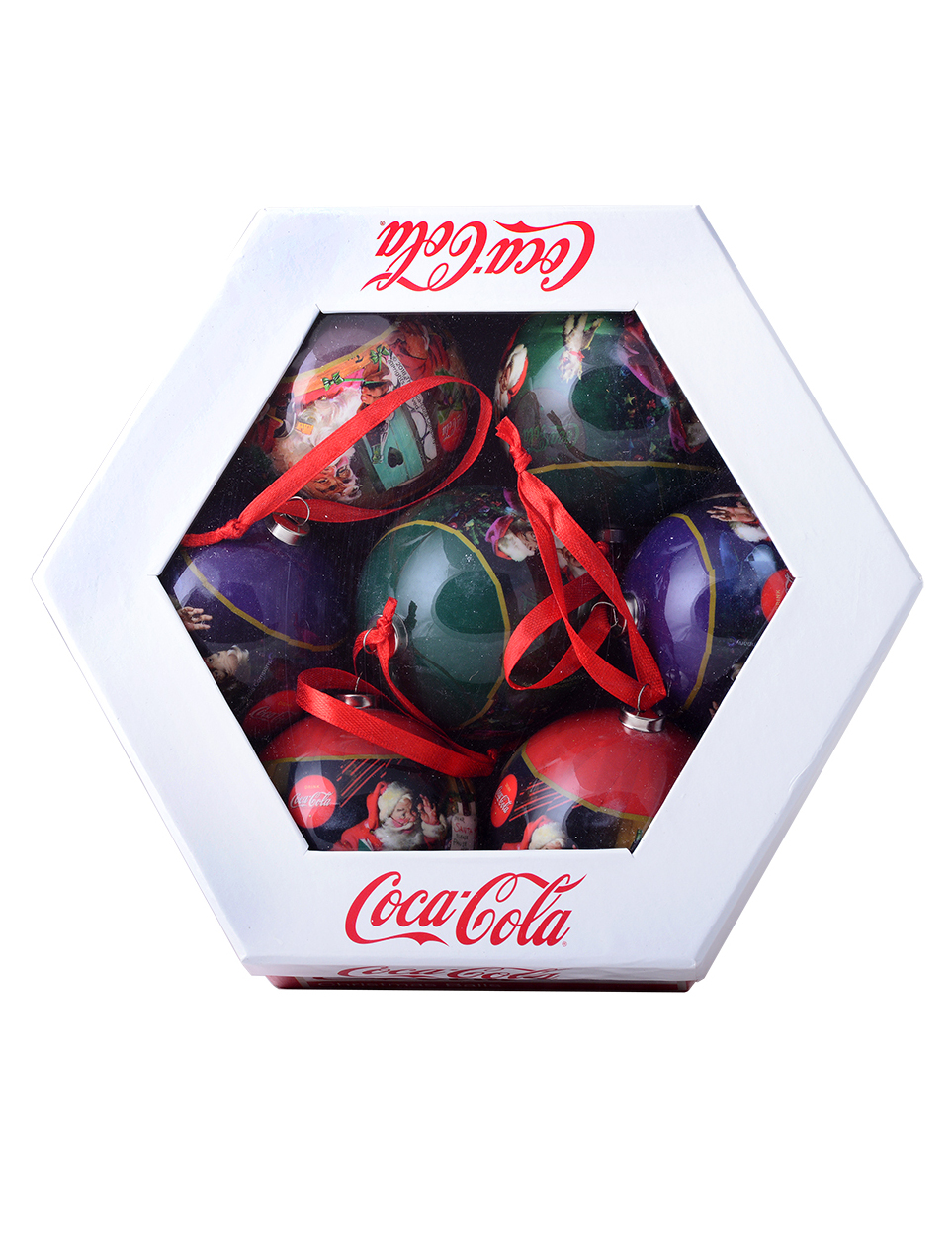 Günstige Christbaumkugeln.Coca Cola Christbaumkugeln 7 Stück In Geschenkbox Bunt 7 5cm