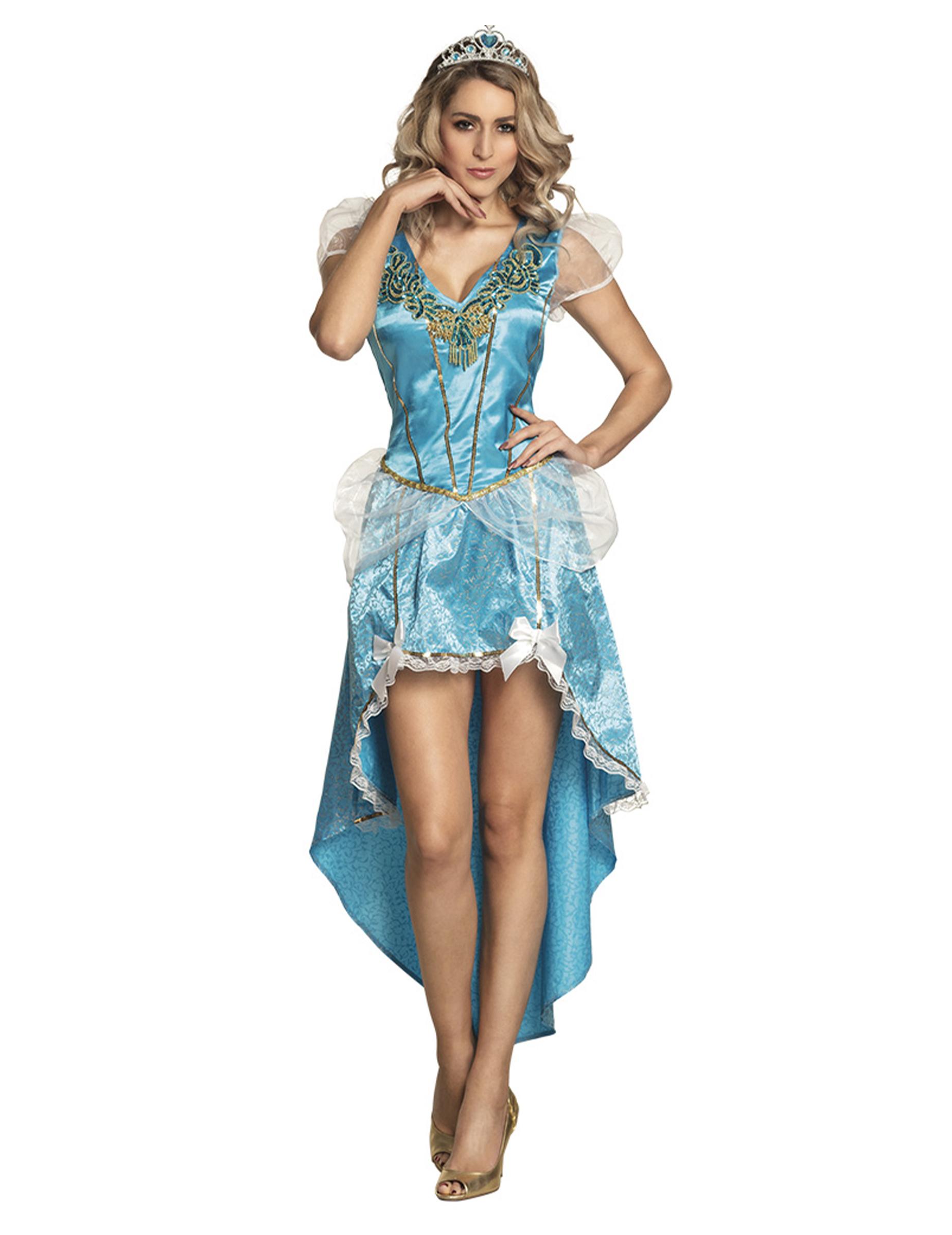 bezauberndes prinzessinnen-kostüm für damen hellblau-weiss-gold