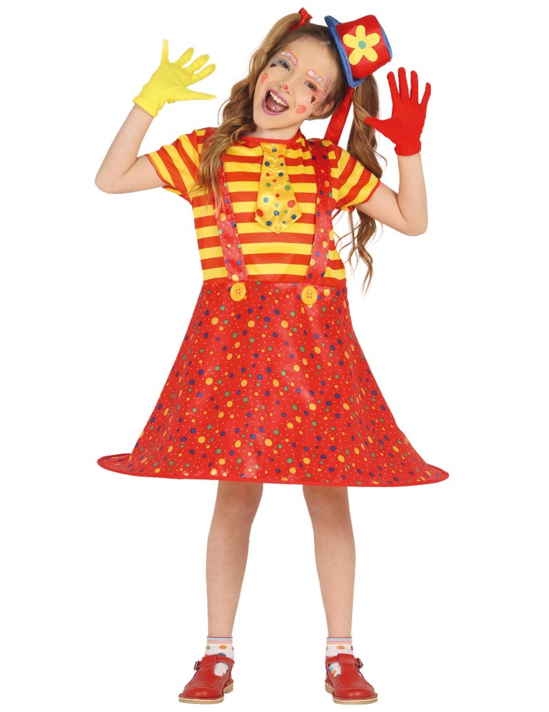 Clown Kostum Fur Madchen Faschingskostum Rot Gelb Gunstige