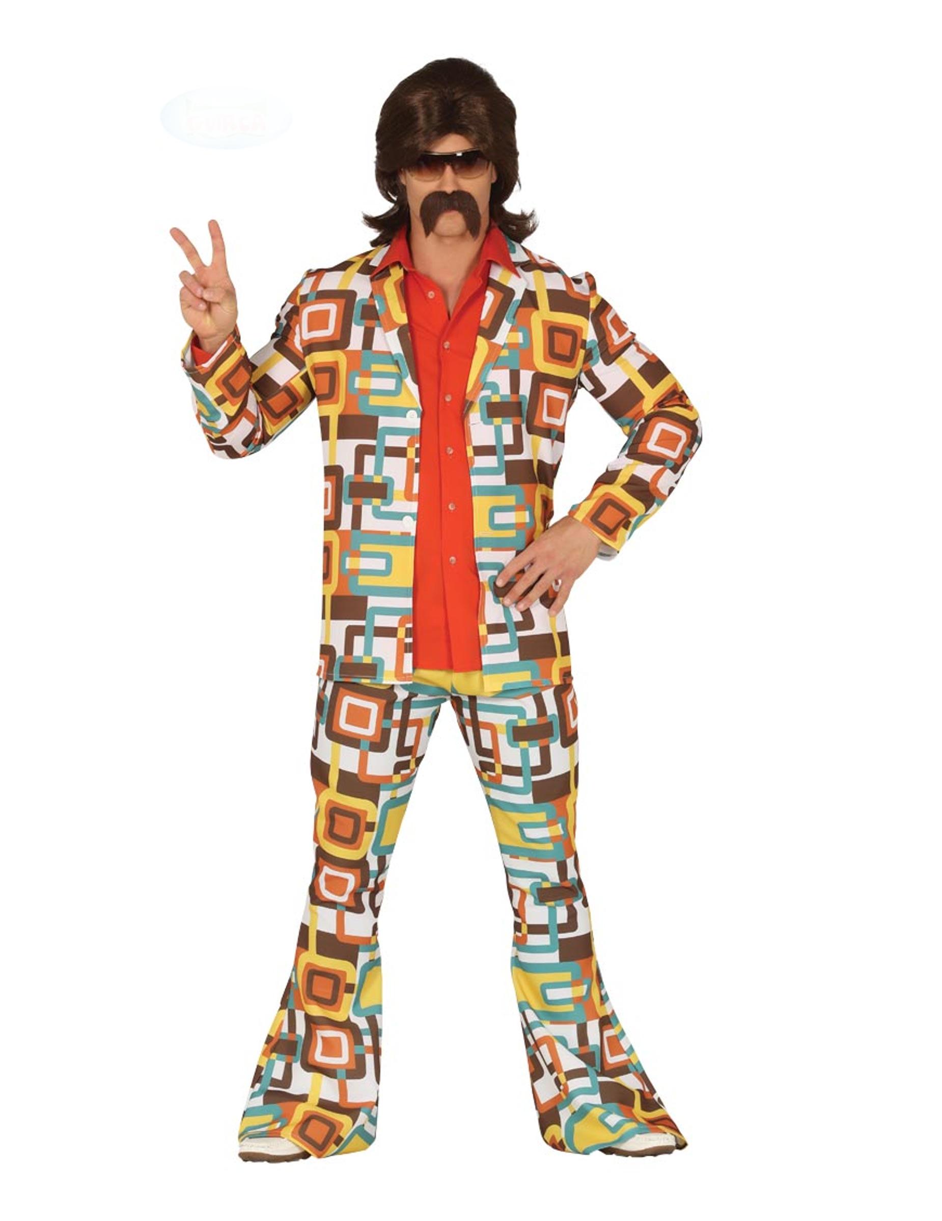 Disco-Kostüm für Männer 70er Jahre-Kostüm bunt , günstige