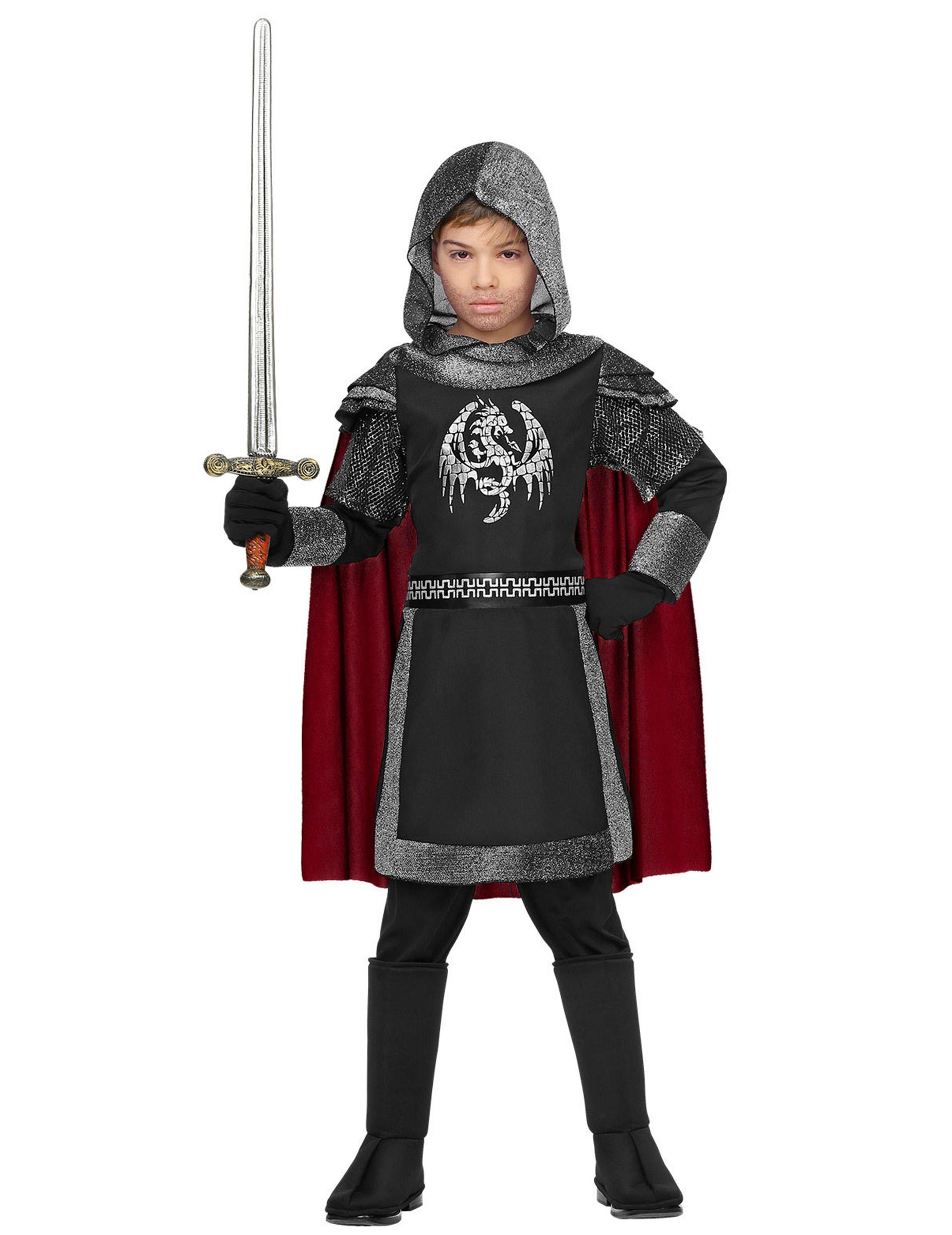mutiger drachenritter kinderkostüm für jungen grau