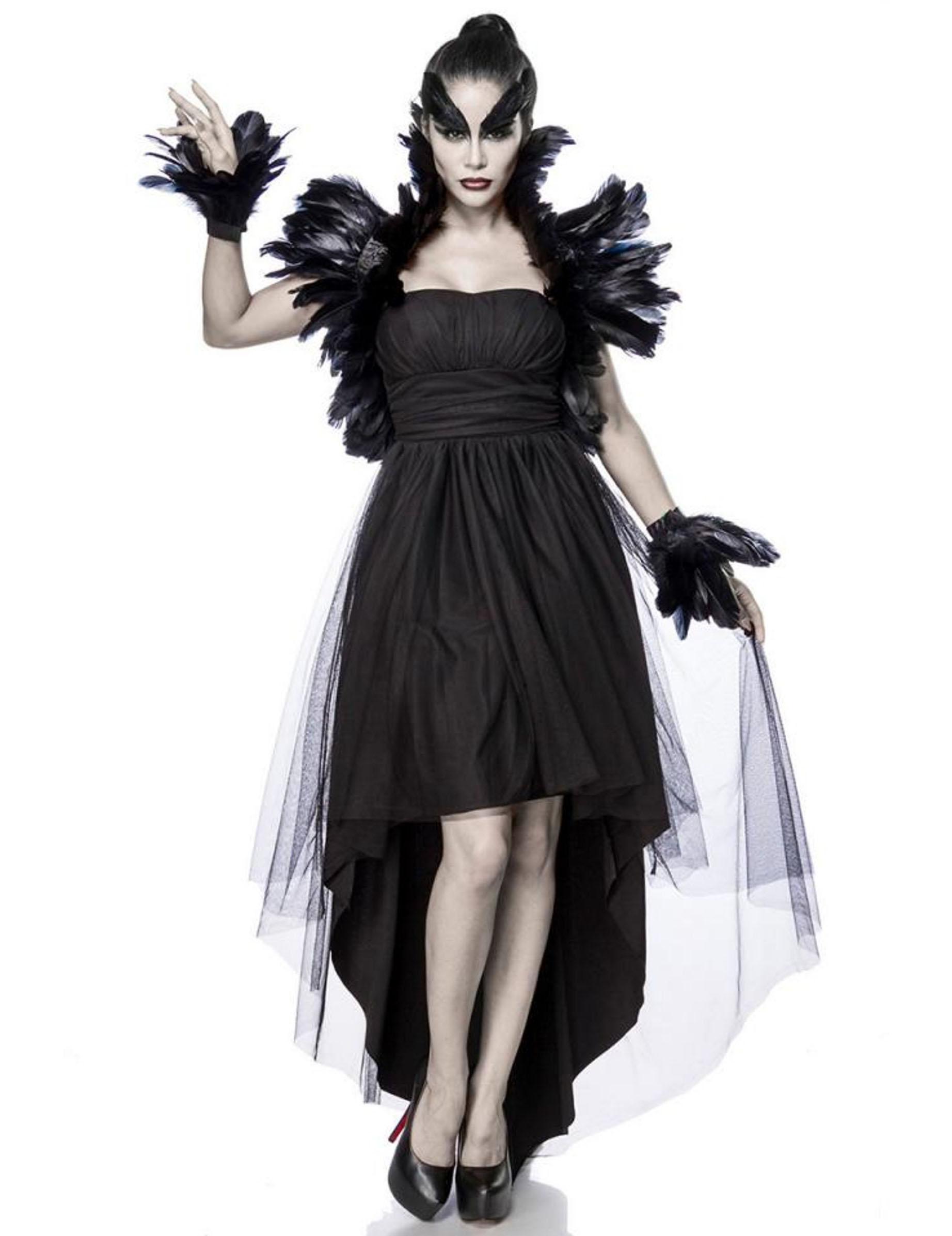 Raben Kostum Fur Damen Schwarze Hexe Faschingskostum Schwarz