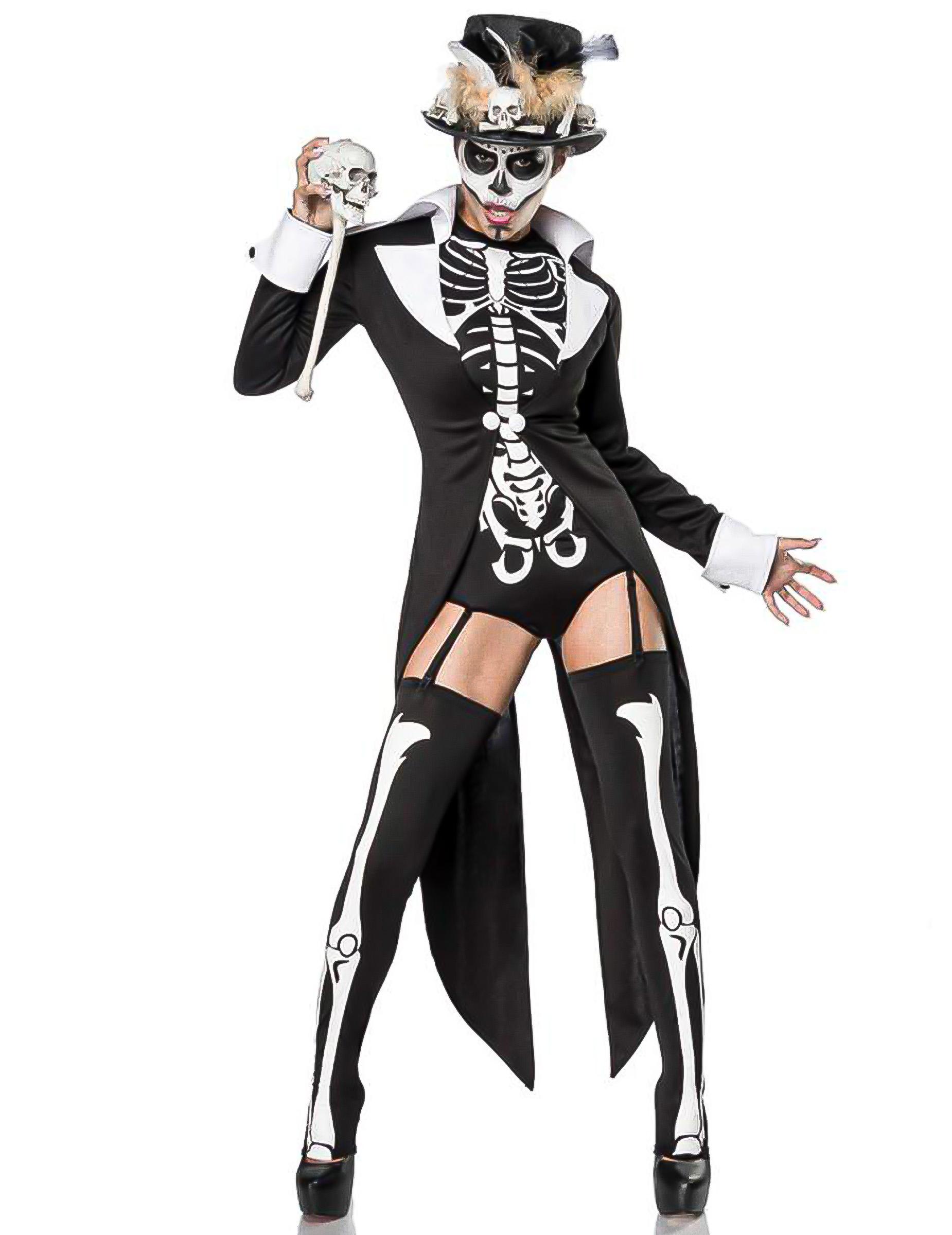 d97acd7b9da650 Skelett-Deluxekostüm für Damen Halloweenkostüm schwarz-weiss