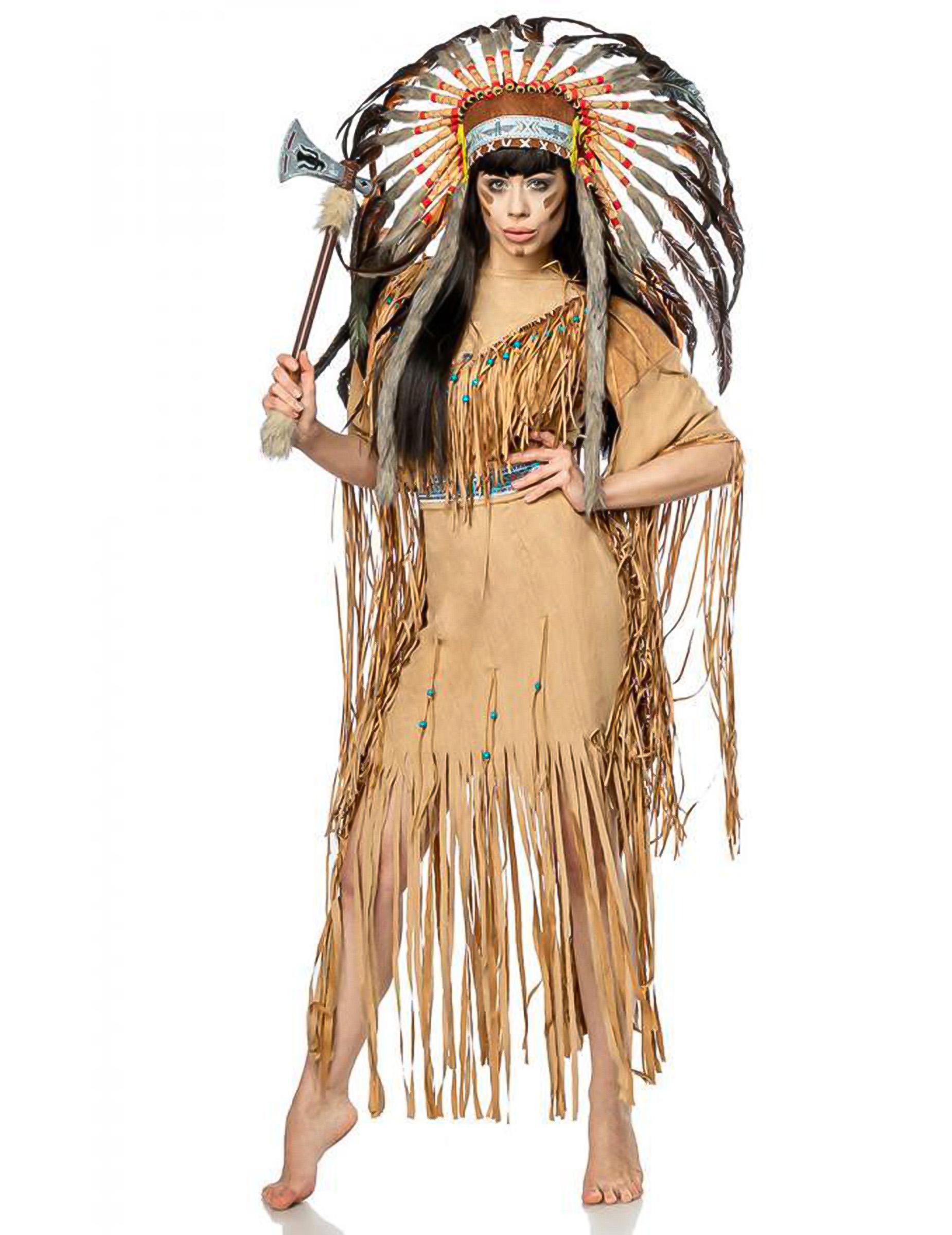 Indianer Kostum Fur Damen Faschingskostum Braun Schwarz Gunstige