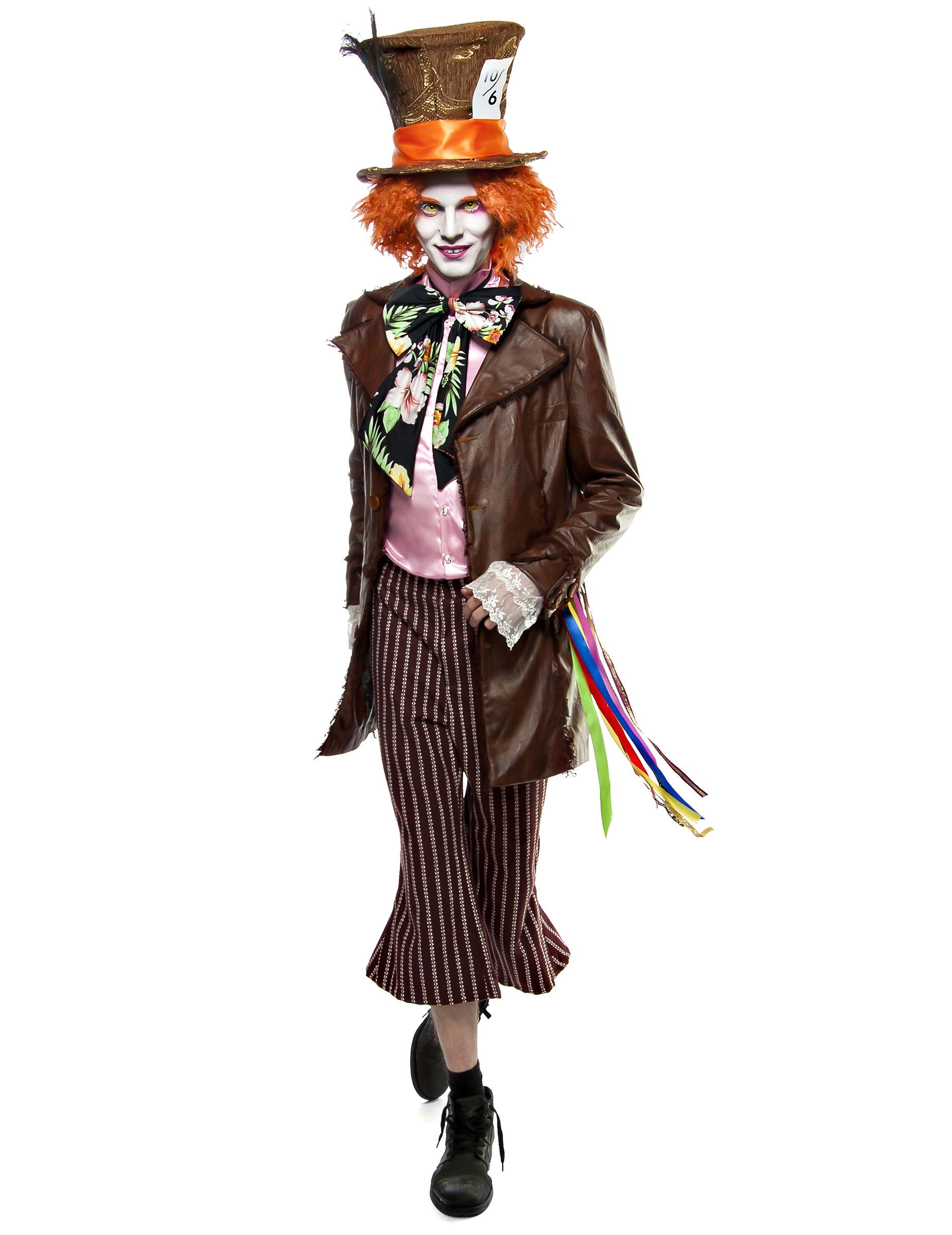 exquisites Design klare Textur akzeptabler Preis Extravaganter Hutmacher-Kostüm für Herren mit Perücke Faschingskostüm  braun-bunt