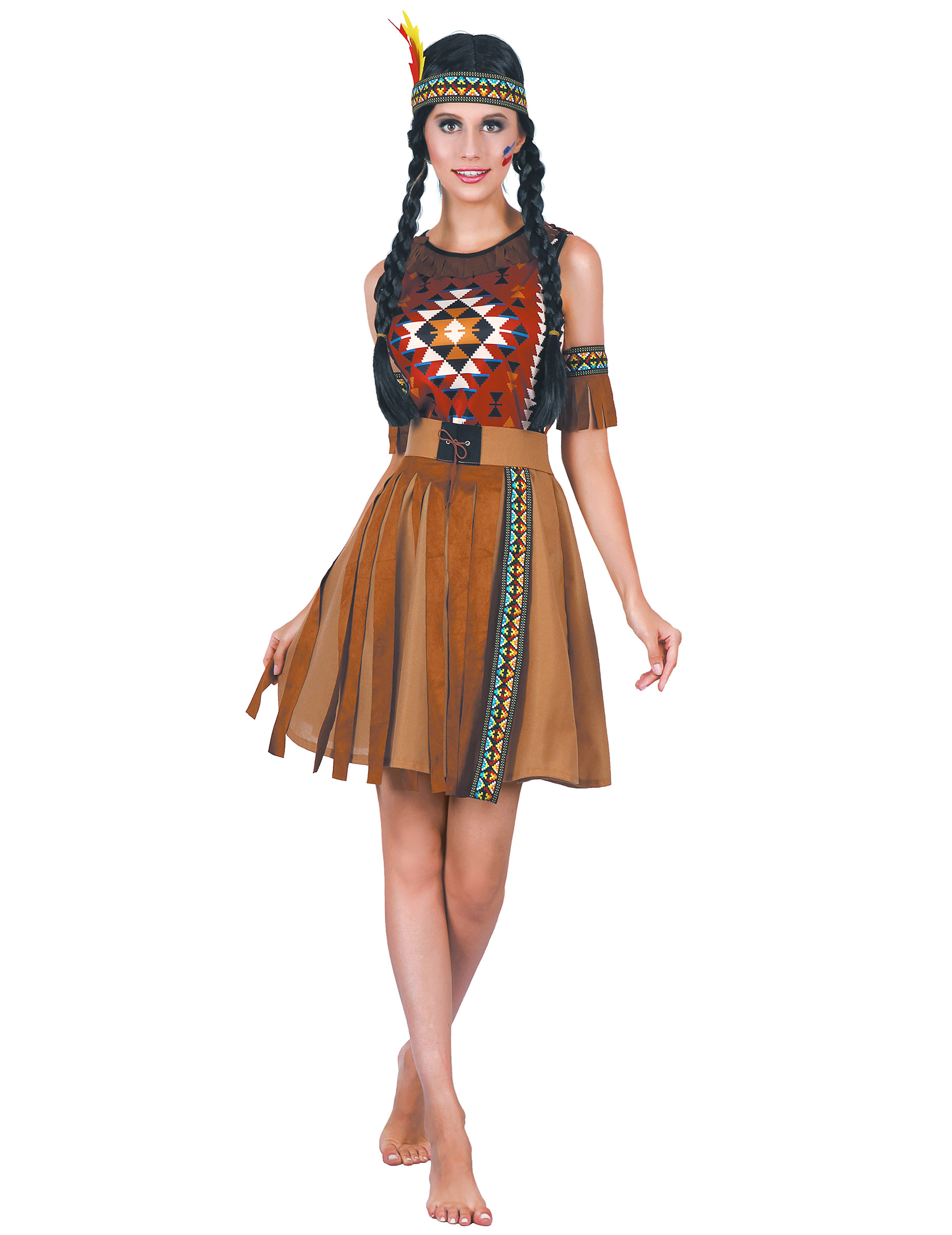 Farbkräftiges Indianer Kostüm für Damen Faschingskostüm braun bunt