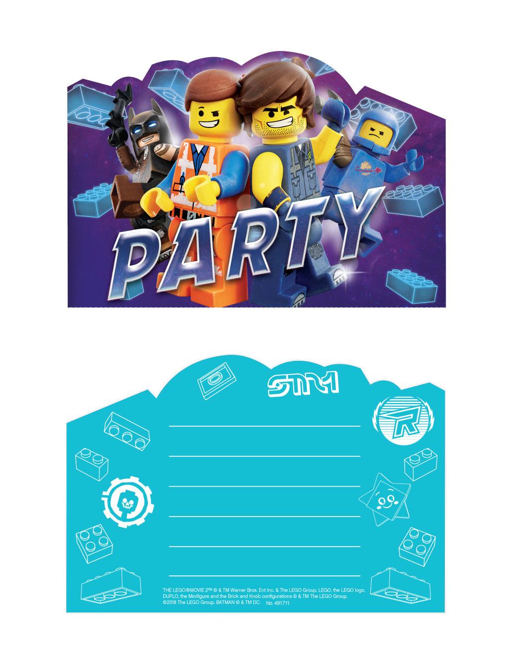 lego movie 2™-einladungskarten mit umschlägen 8 stück bunt