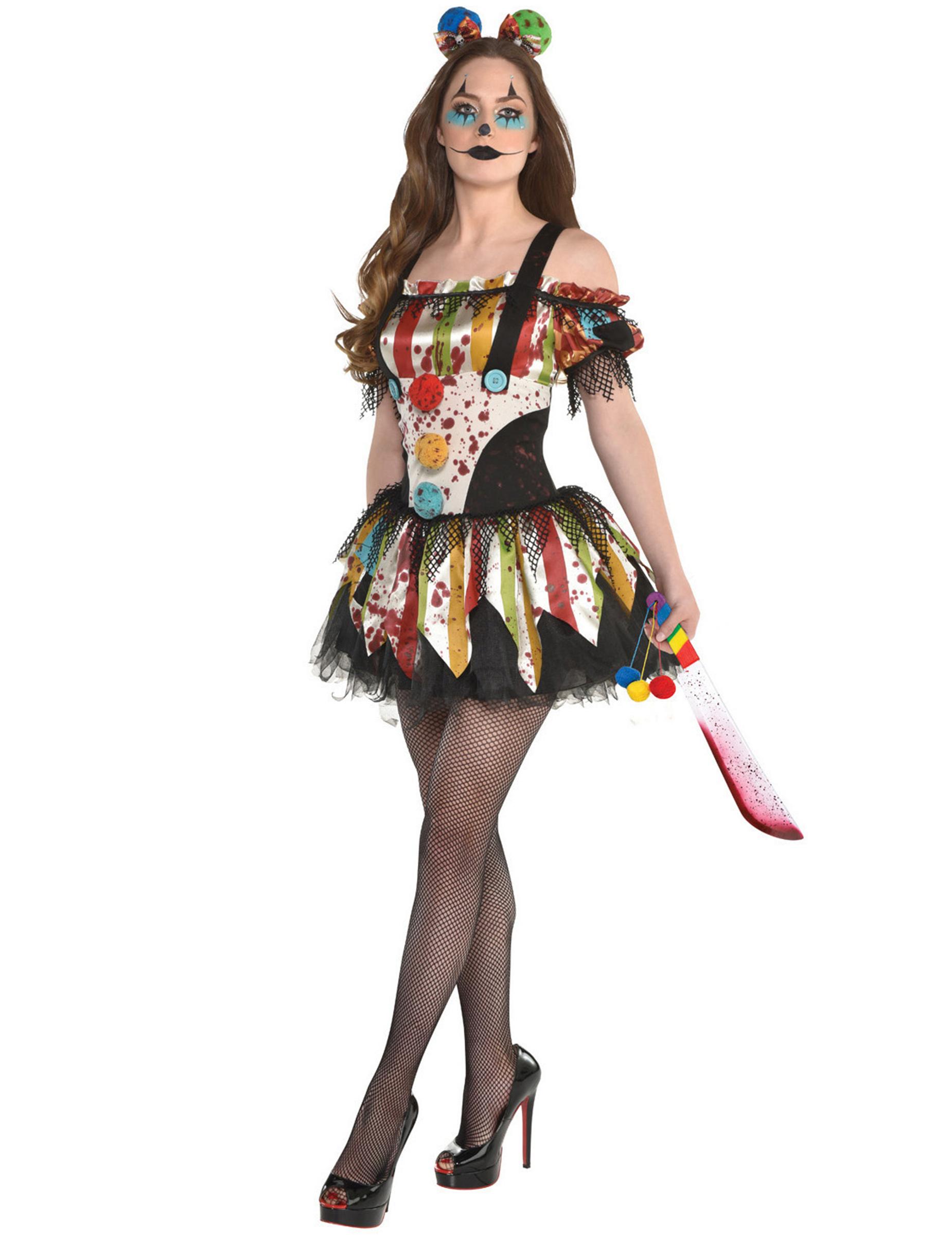 Horrorclown Kostüm für Damen Halloween Kostüm bunt