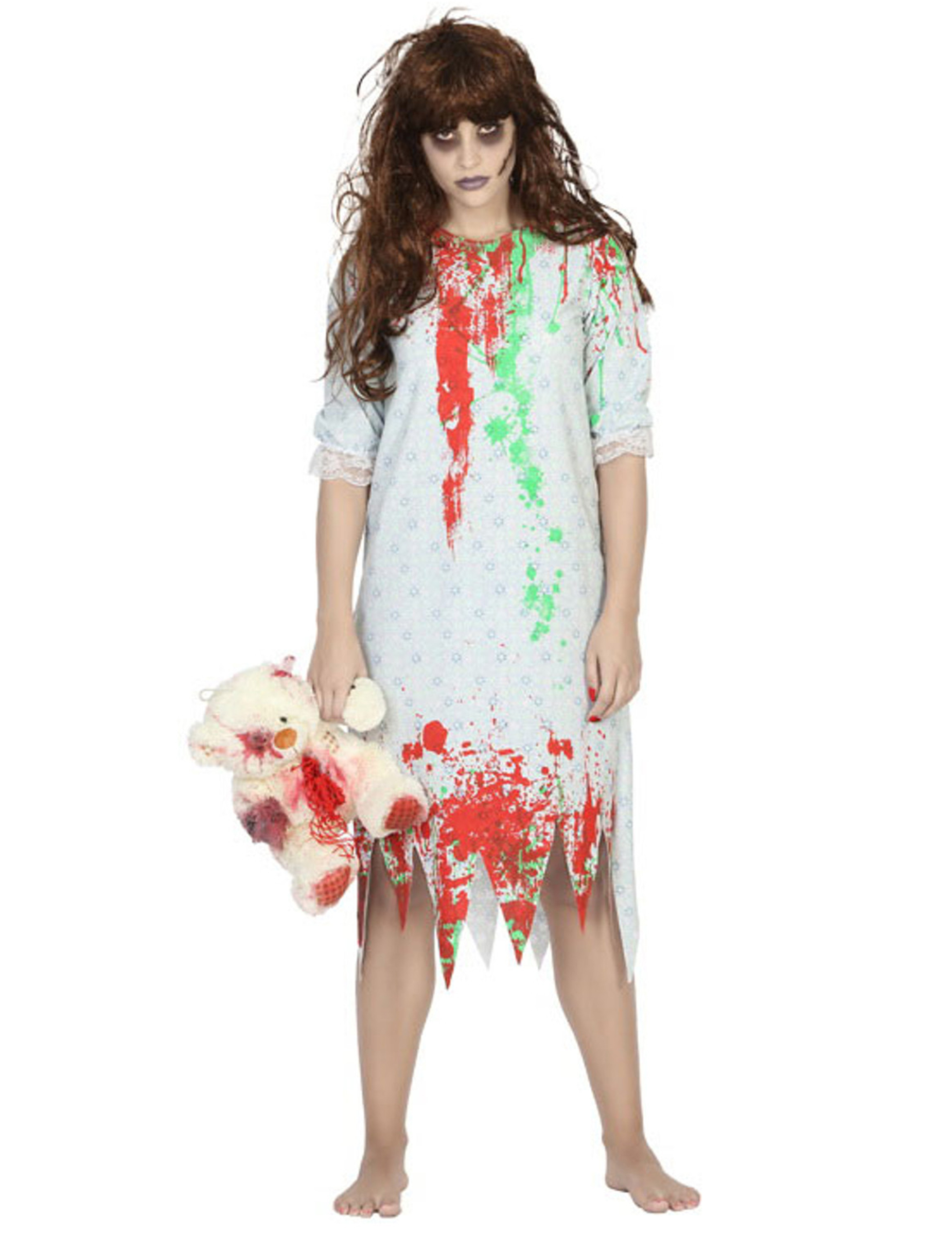 best website ffe5e e55f2 Blutiges Zombie-Mädchen Nachthemd Halloween-Kostüm für Damen weiss-rot-grün