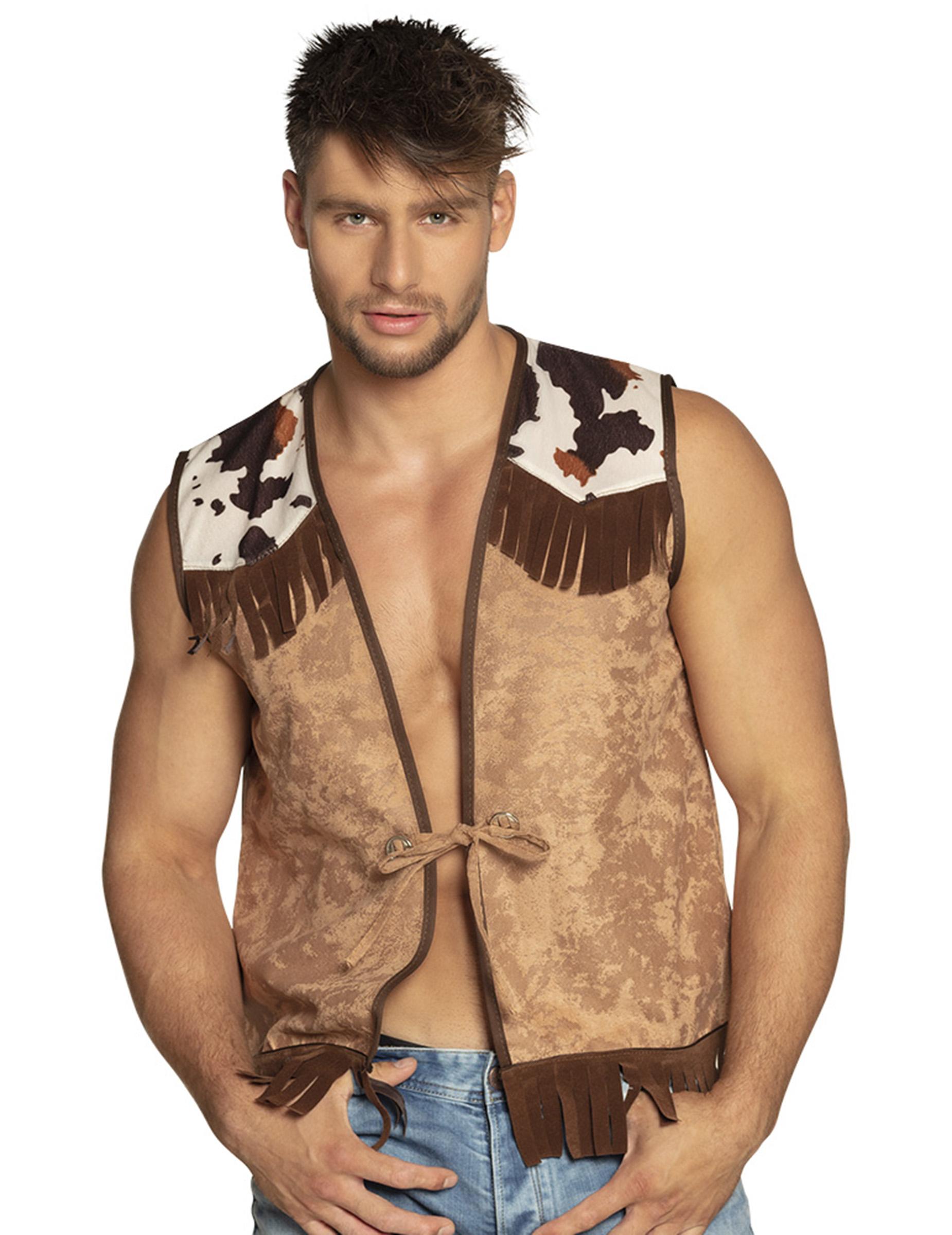 exzellente Qualität Genieße den kostenlosen Versand Wählen Sie für neueste Cowboy-Weste für Herren Accessoire braun-weiss