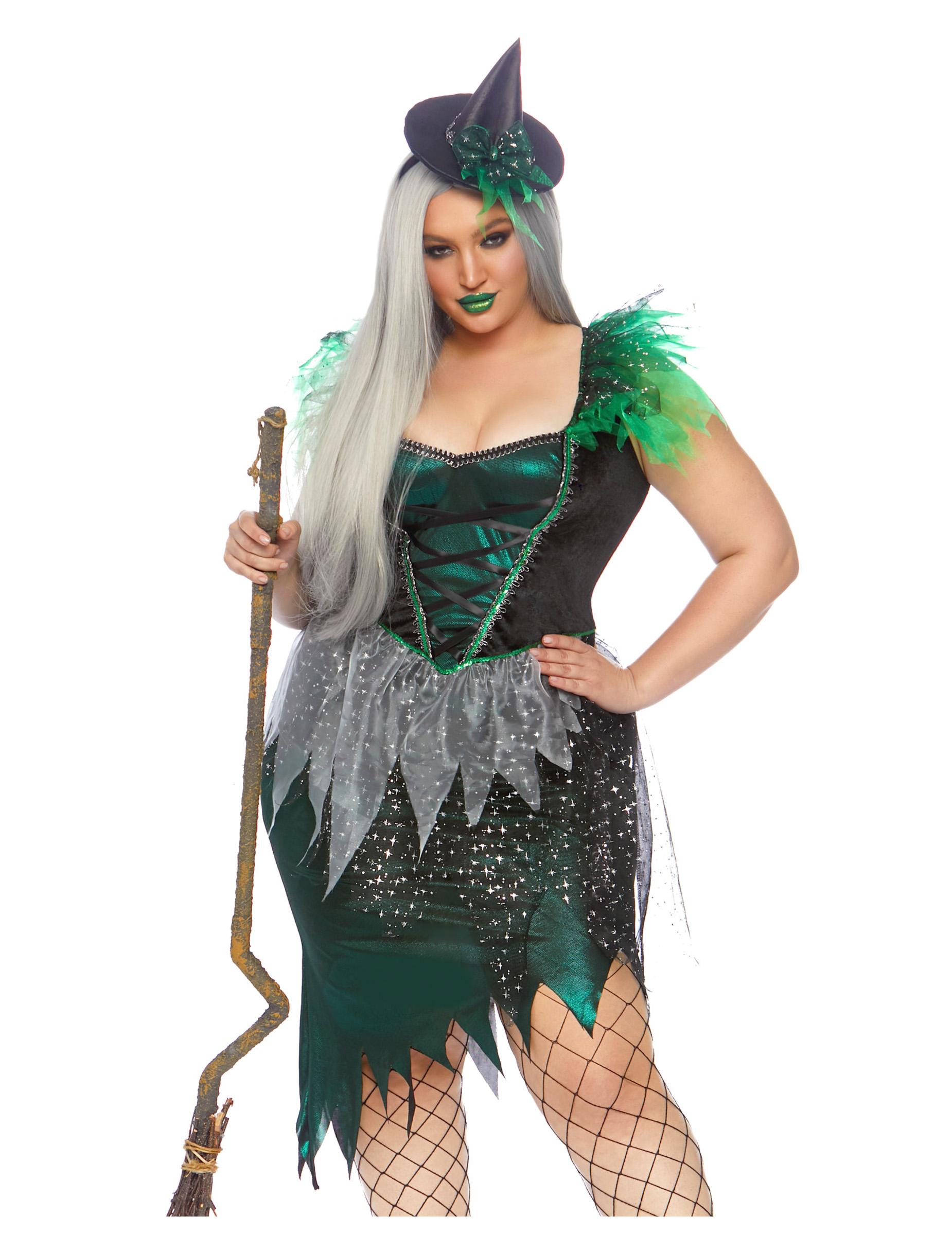 Hexenkostüm für Damen für große Größen Halloween Kostüm grün