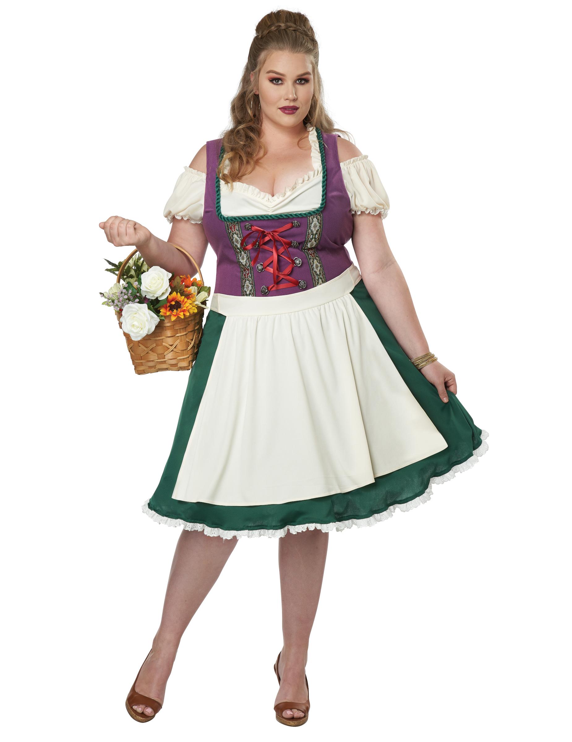Dirndl-Kostüm für Damen in Übergrösse Faschingskostüm grün