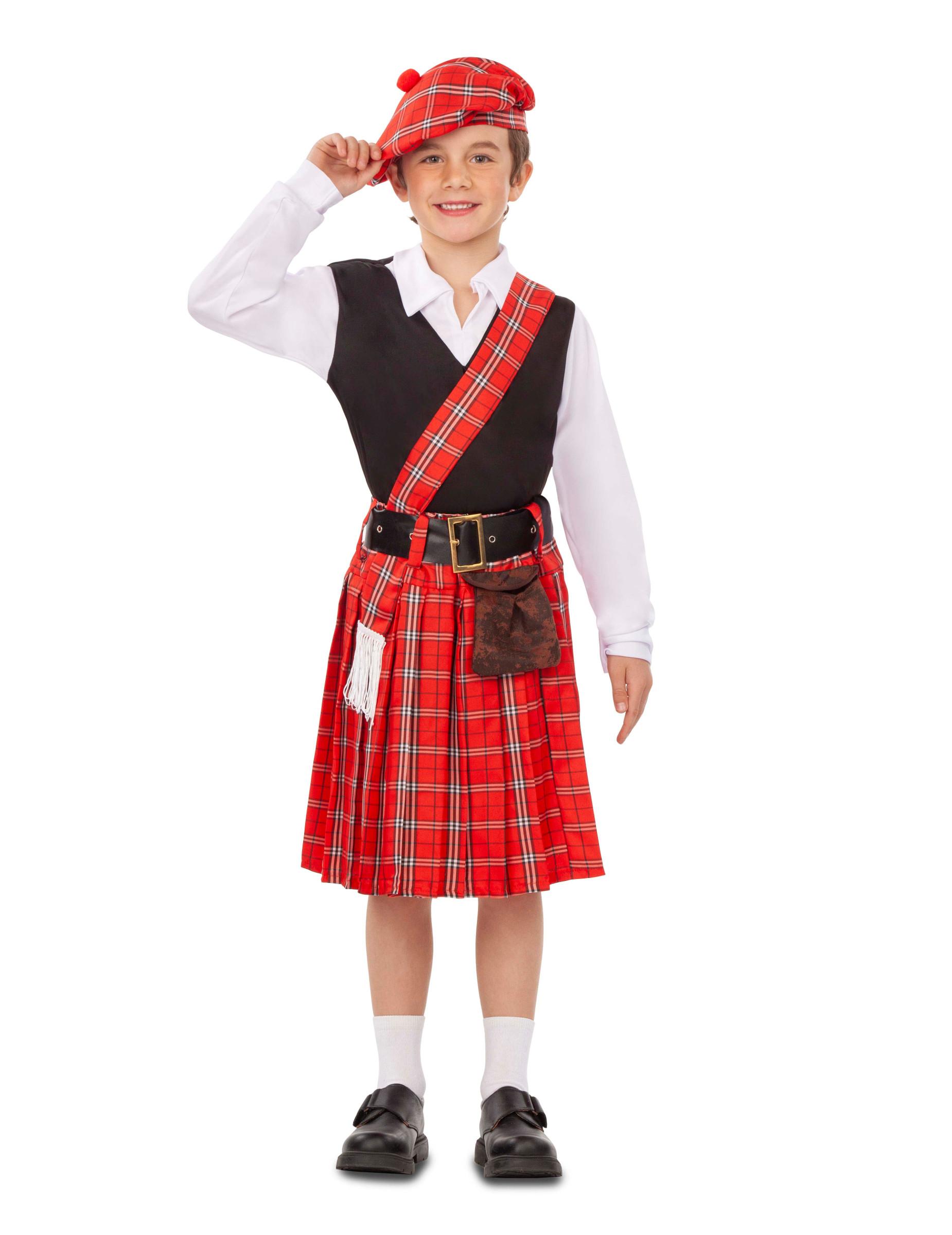 Schotten Kostum Fur Jungen Faschingskostum Rot Schwarz Weiss