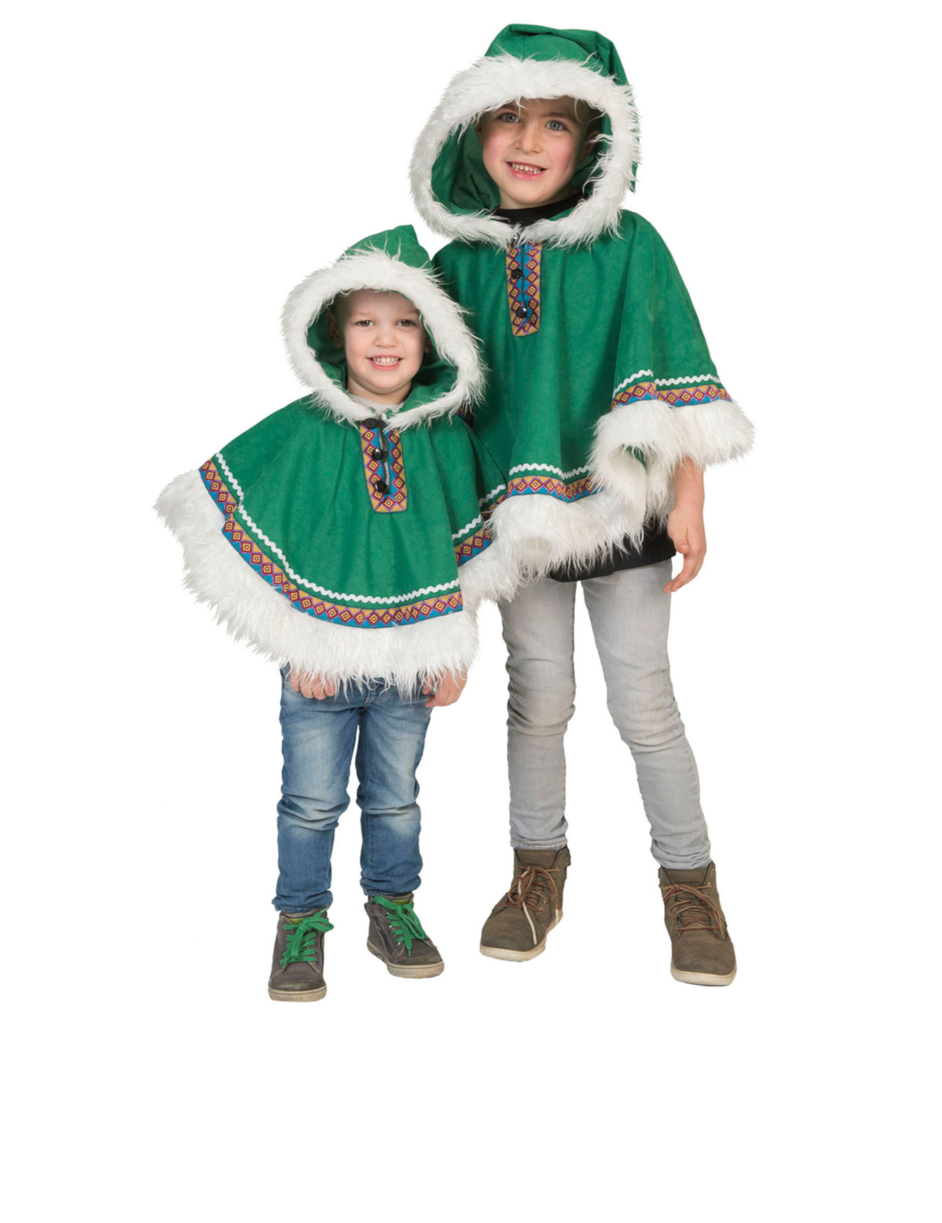 eskimo kostuem fuer kleinkinder poncho fasching gruen weiss