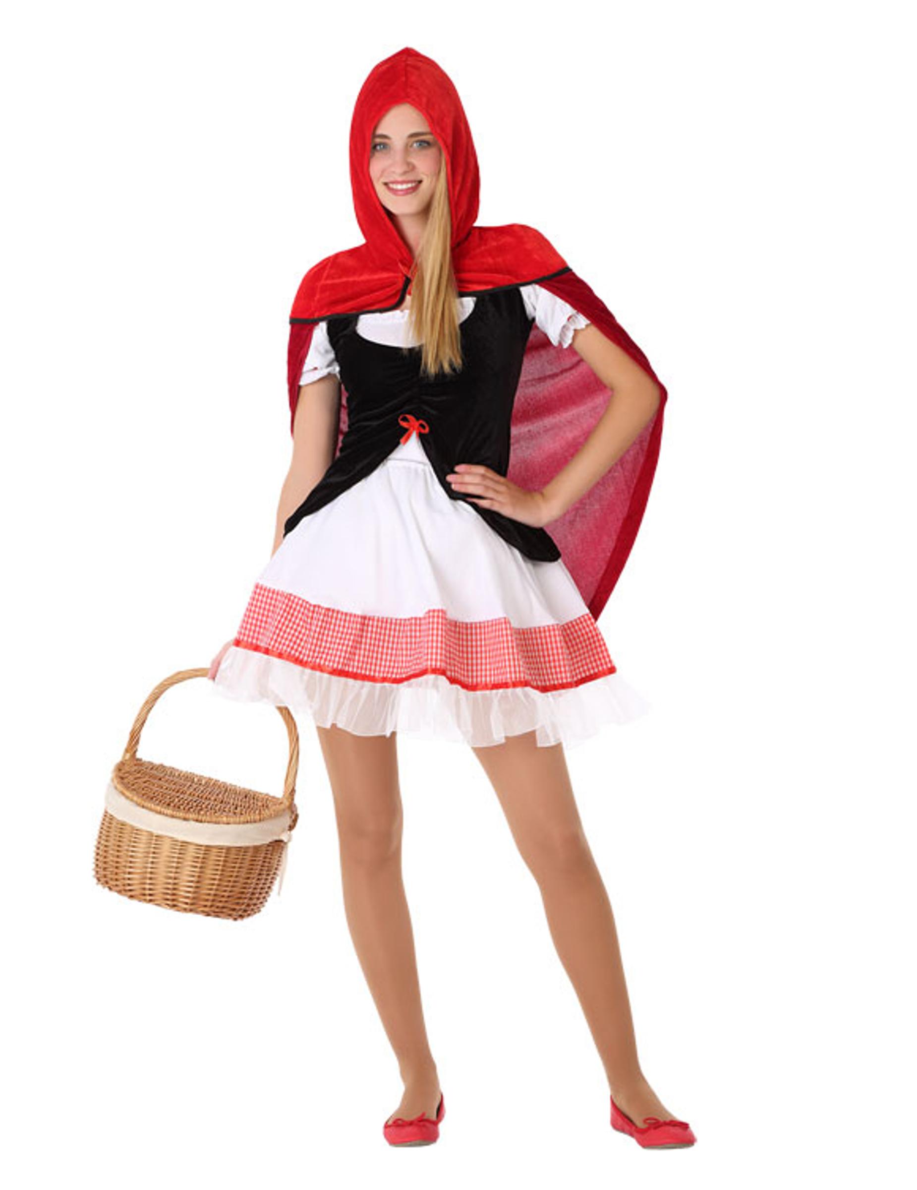 rotkäppchen-kostüm für jugendliche teenager-kostüm rot-weiss-schwarz